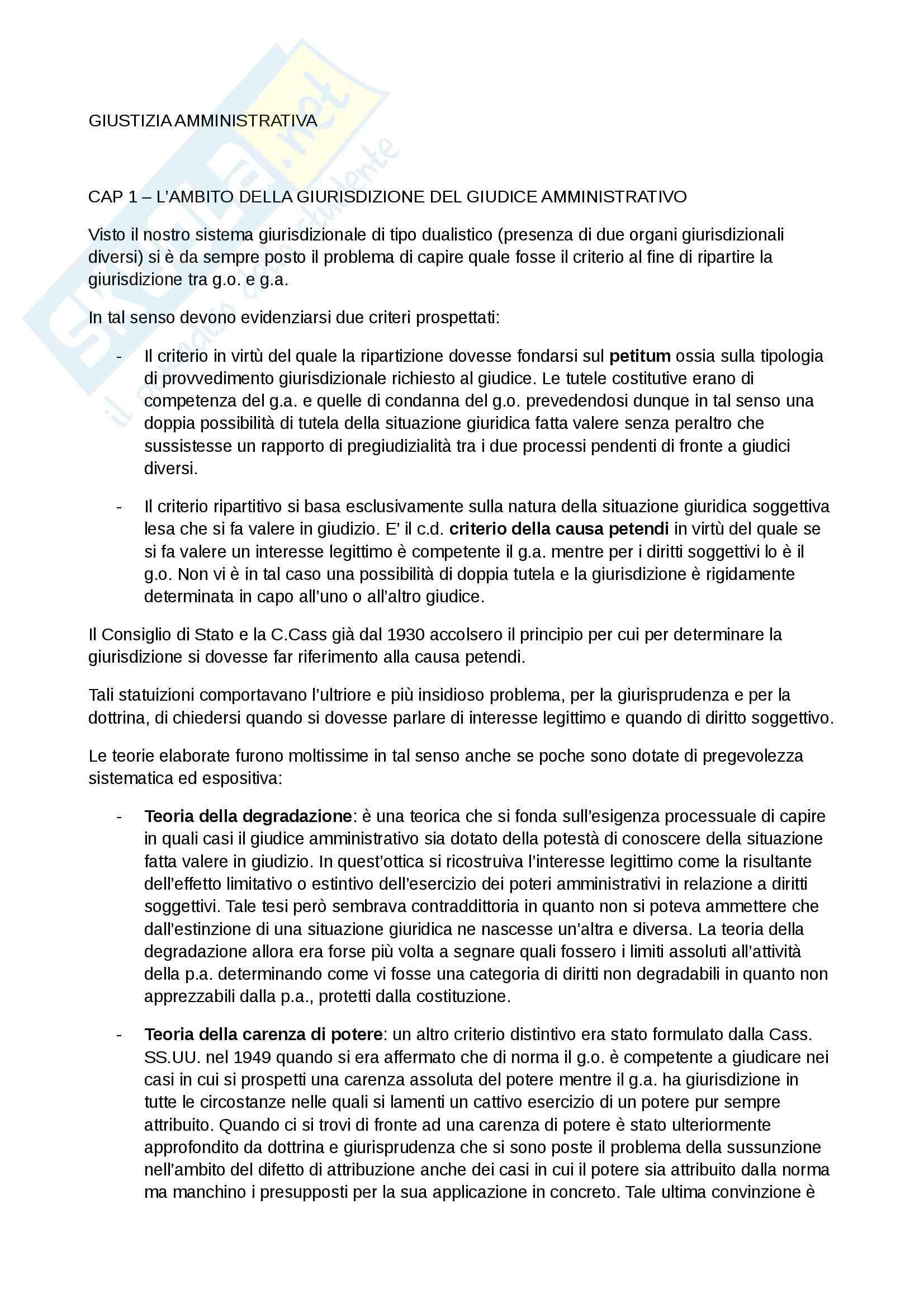 Riassunti Giustizia amministrativa, Prof. Volpe, libro consigliato Giustizia amministrativa, Scoca Pag. 1