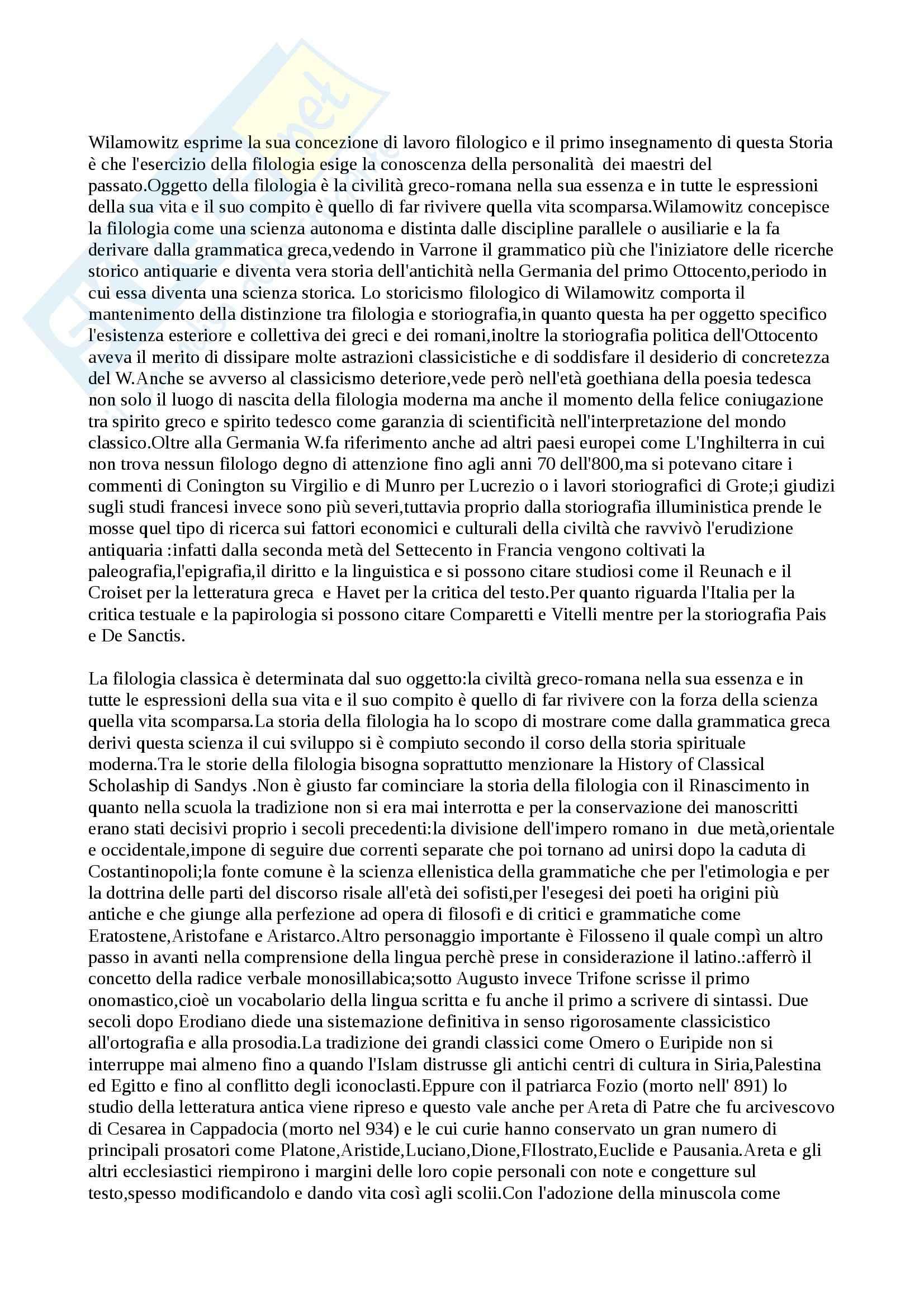 Riassunto esame Filologia Classica, prof. Ronchey, libro consigliato Storia della filologia classica, Wilamowitz