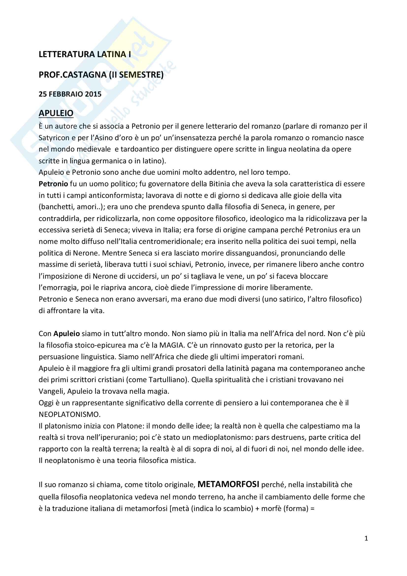 appunto L. Castagna Letteratura latina I