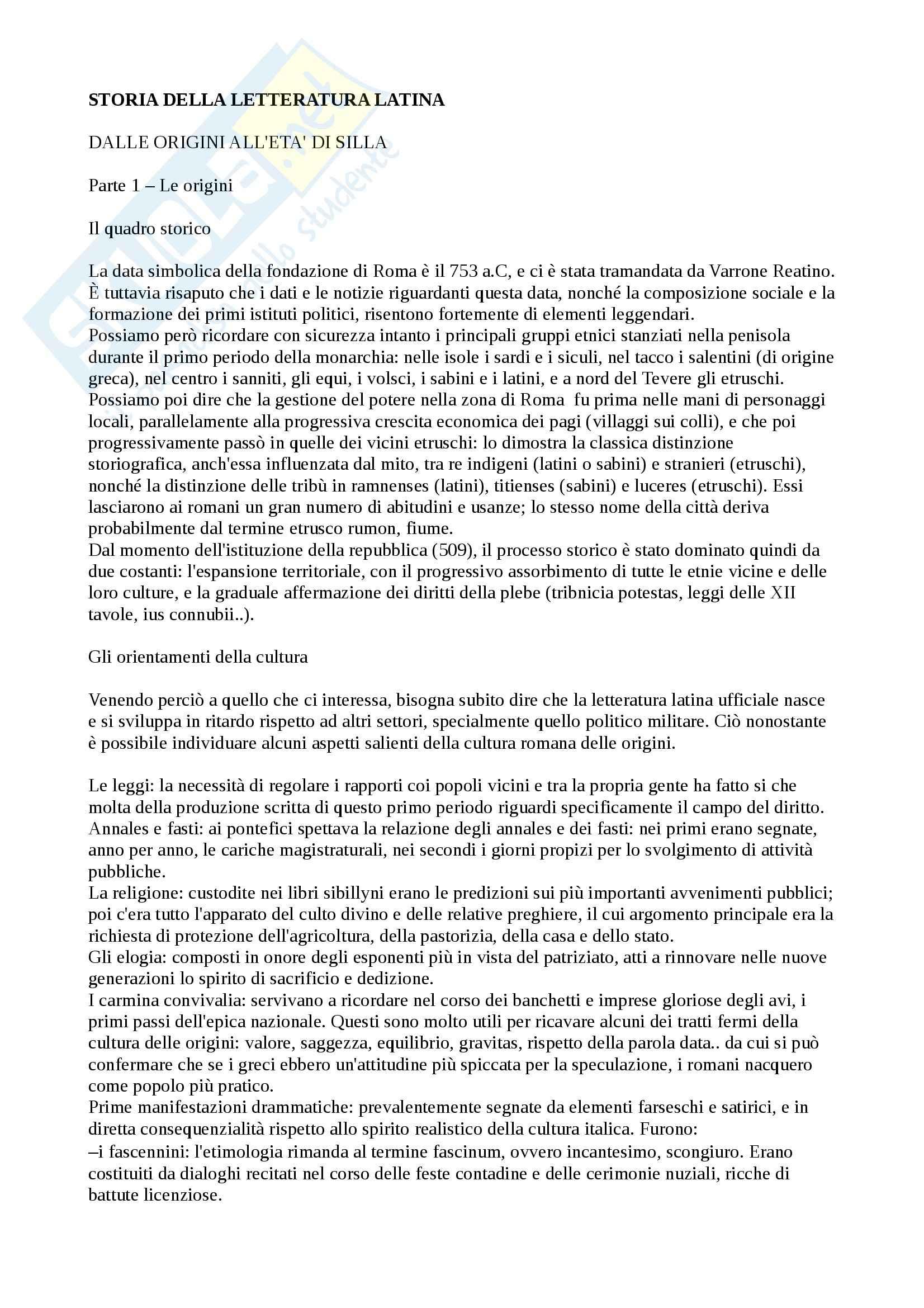 Riassunto esame letteratura latina, prof. Facchini, libro consigliato Storia e Antologia della letteratura latina, Carini, Pezzati
