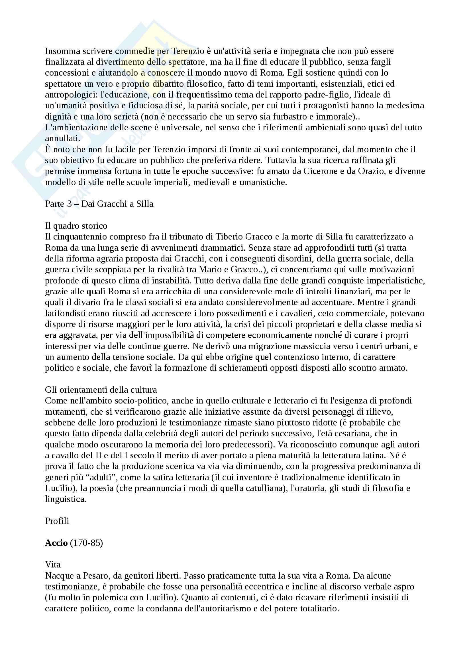 Riassunto esame letteratura latina, prof. Facchini, libro consigliato Storia e Antologia della letteratura latina, Carini, Pezzati Pag. 16