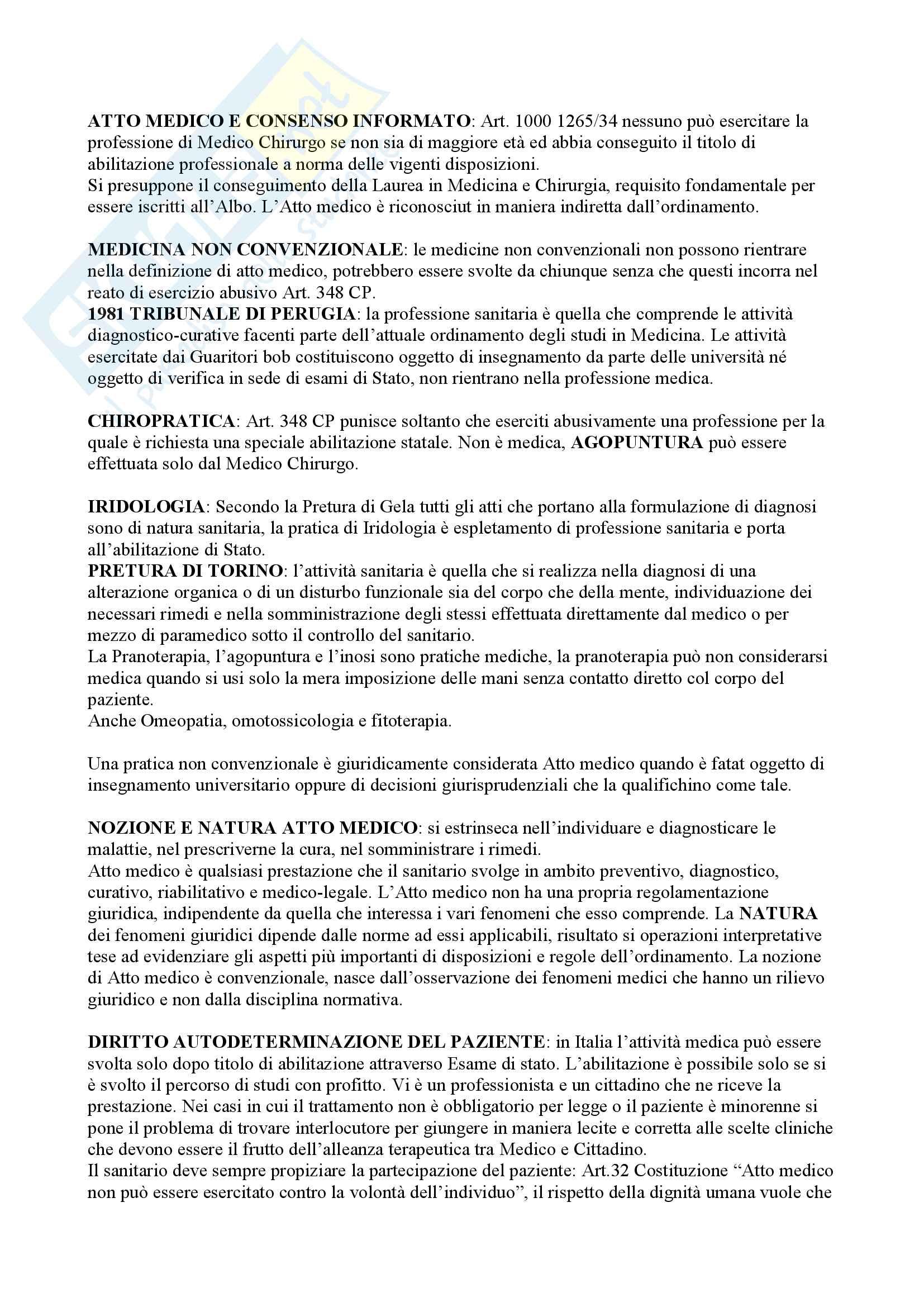 Riassunto esame Medicina Legale, libro consigliato Atto medico e consenso informato