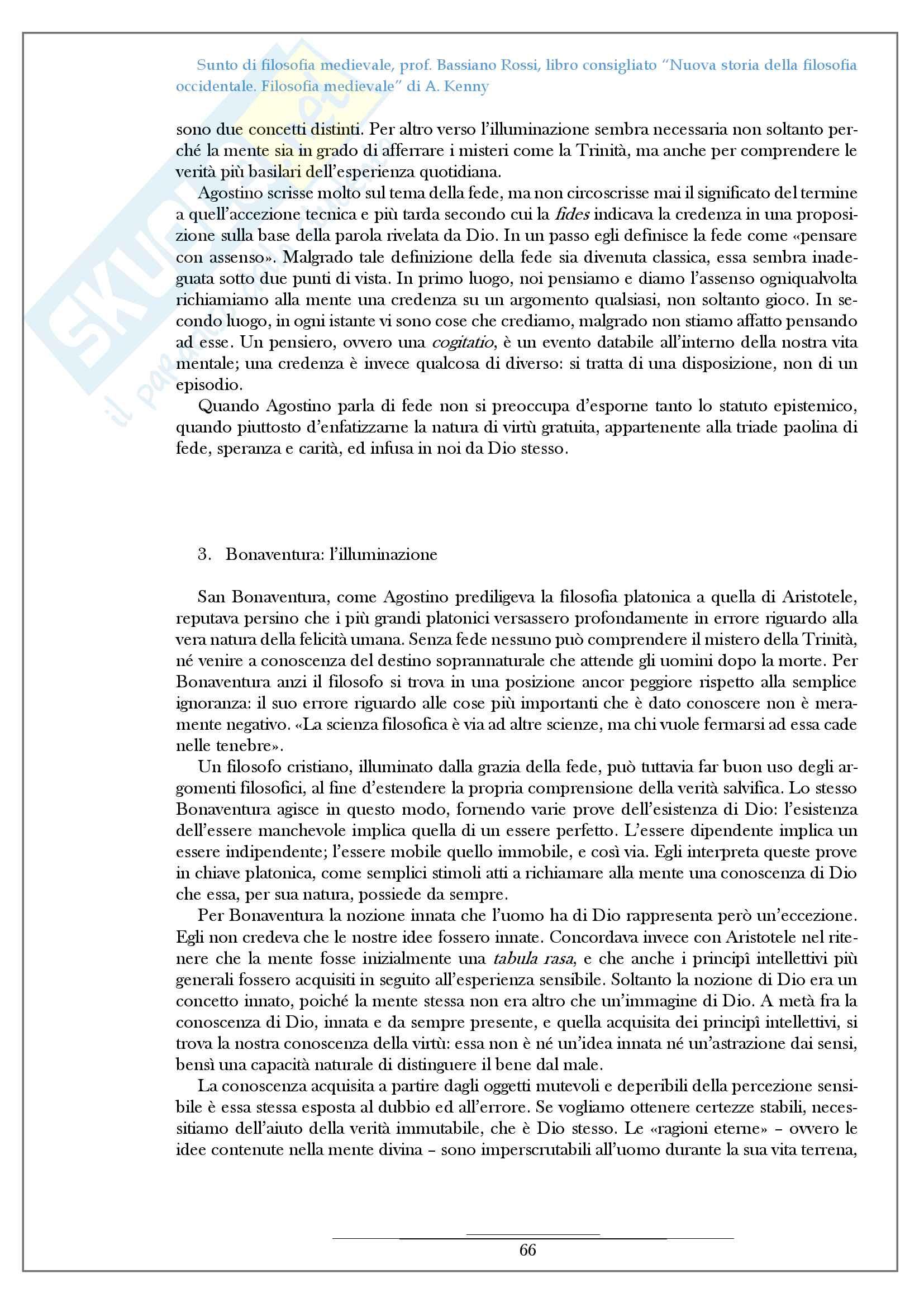 Riassunto esame filosofia medievale, prof Bassiano Rossi, libro consigliato Nuova storia della filosofia occidentale Filosofia medievale di A Kenny Pag. 66
