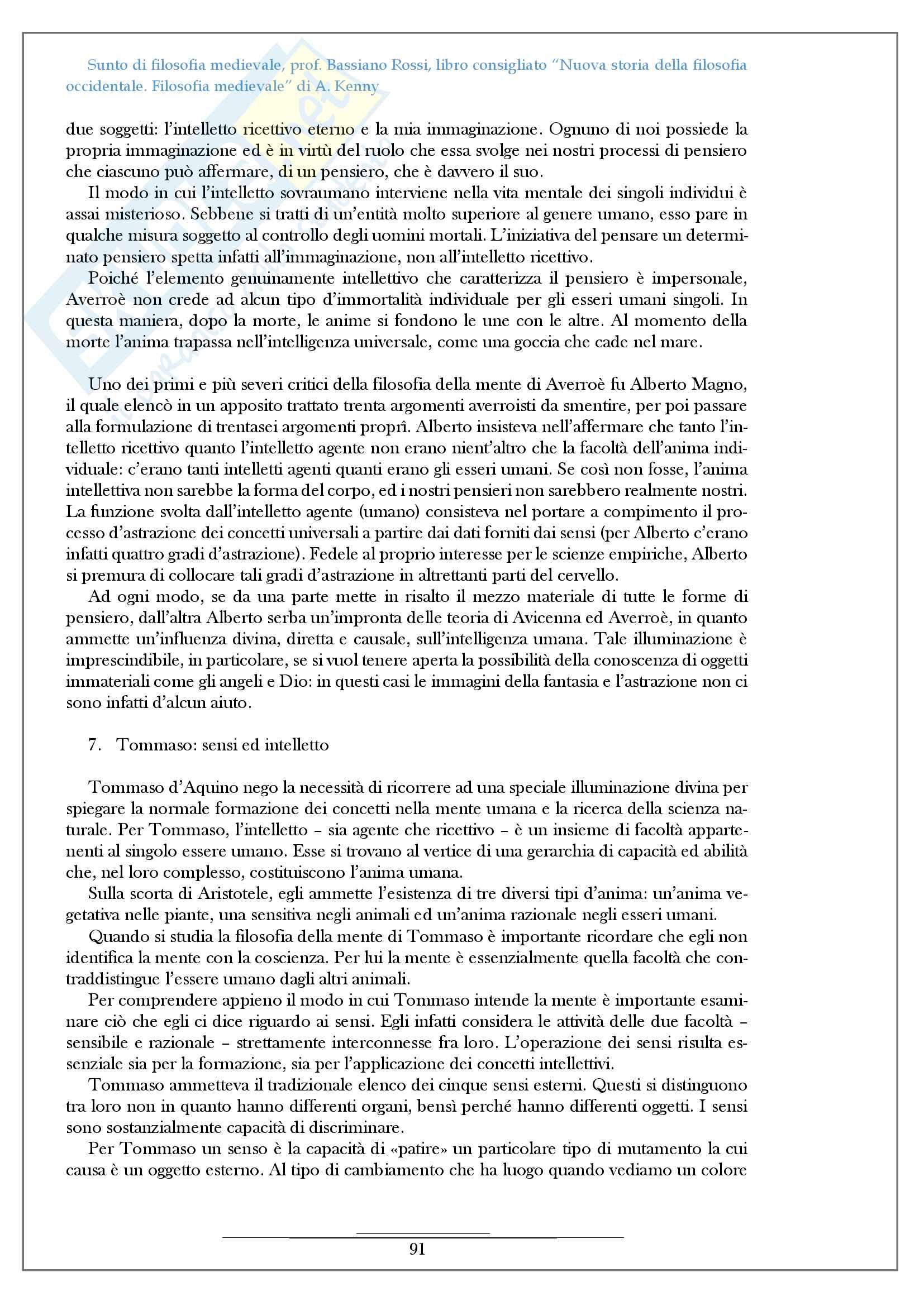 Riassunto esame filosofia medievale, prof Bassiano Rossi, libro consigliato Nuova storia della filosofia occidentale Filosofia medievale di A Kenny Pag. 91