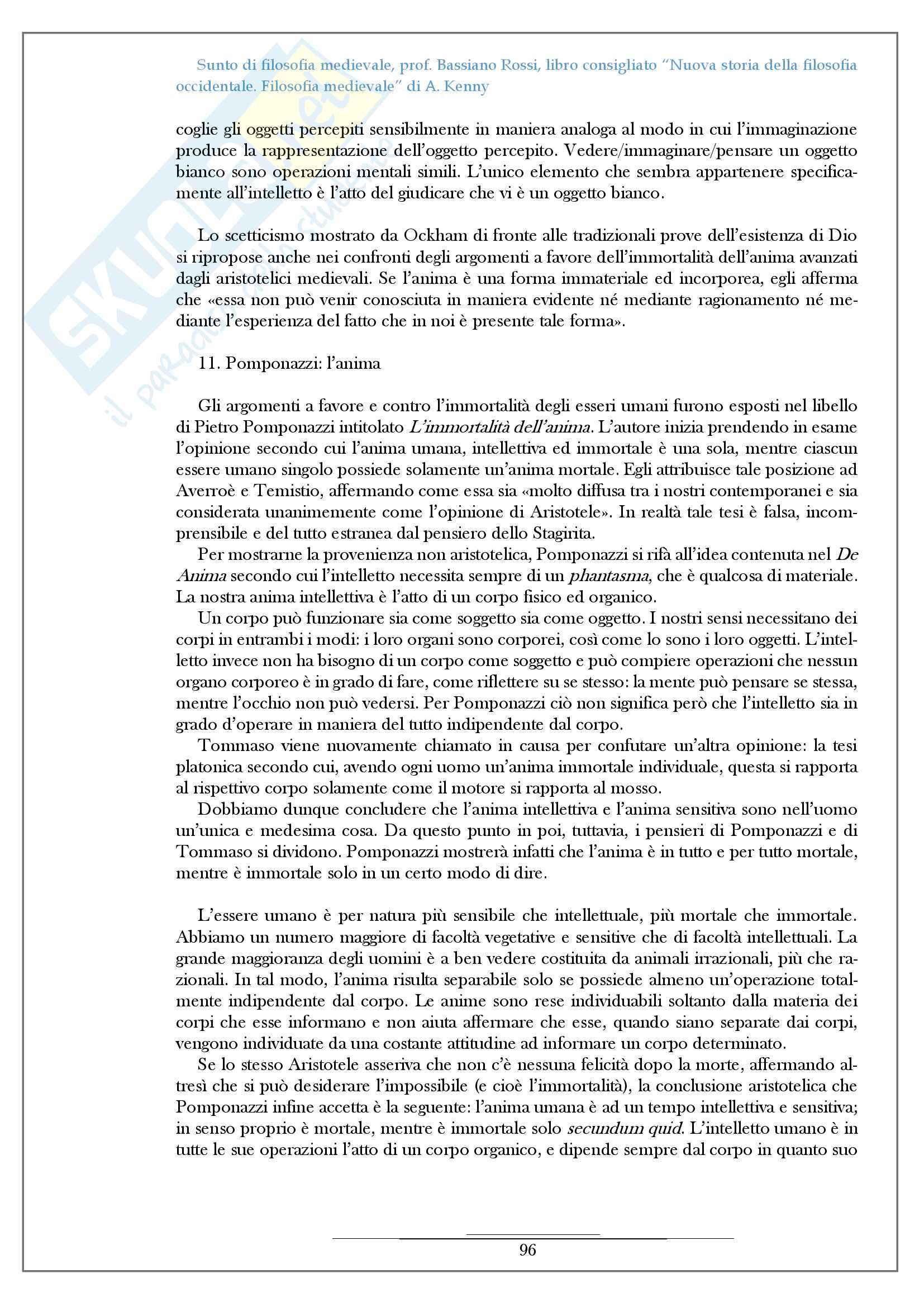 Riassunto esame filosofia medievale, prof Bassiano Rossi, libro consigliato Nuova storia della filosofia occidentale Filosofia medievale di A Kenny Pag. 96