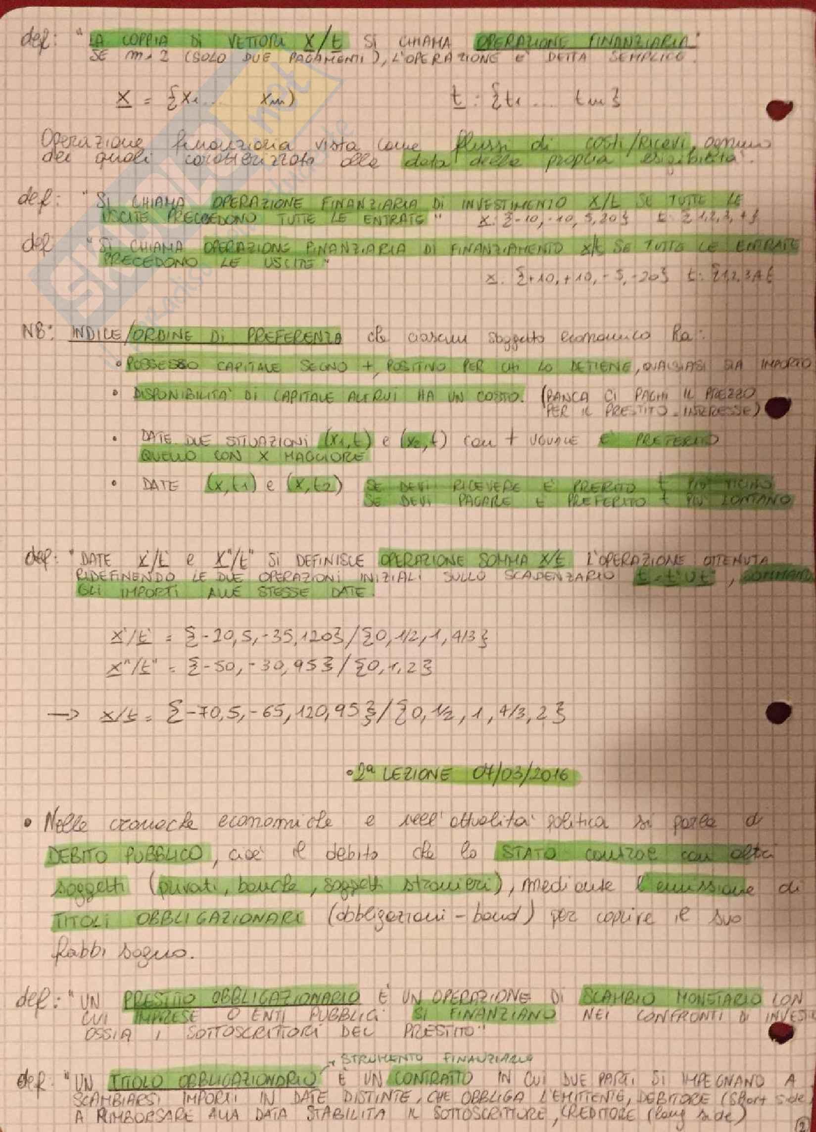 Appunti Matematica Finanziaria - De Marchis Pag. 2