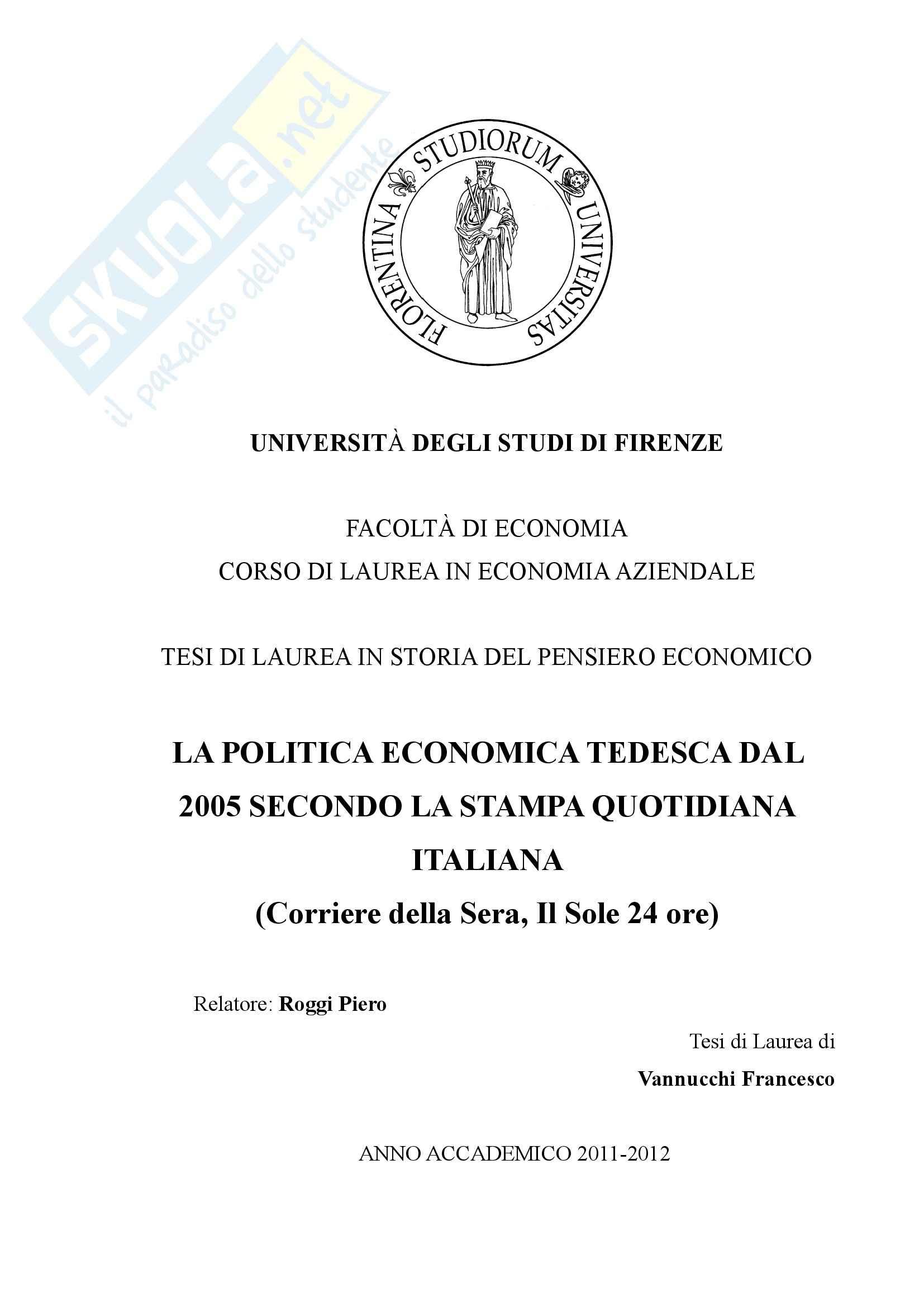 La politica economica tedesca dal 2005 secondo la stampa quotidiana italiana - Tesi