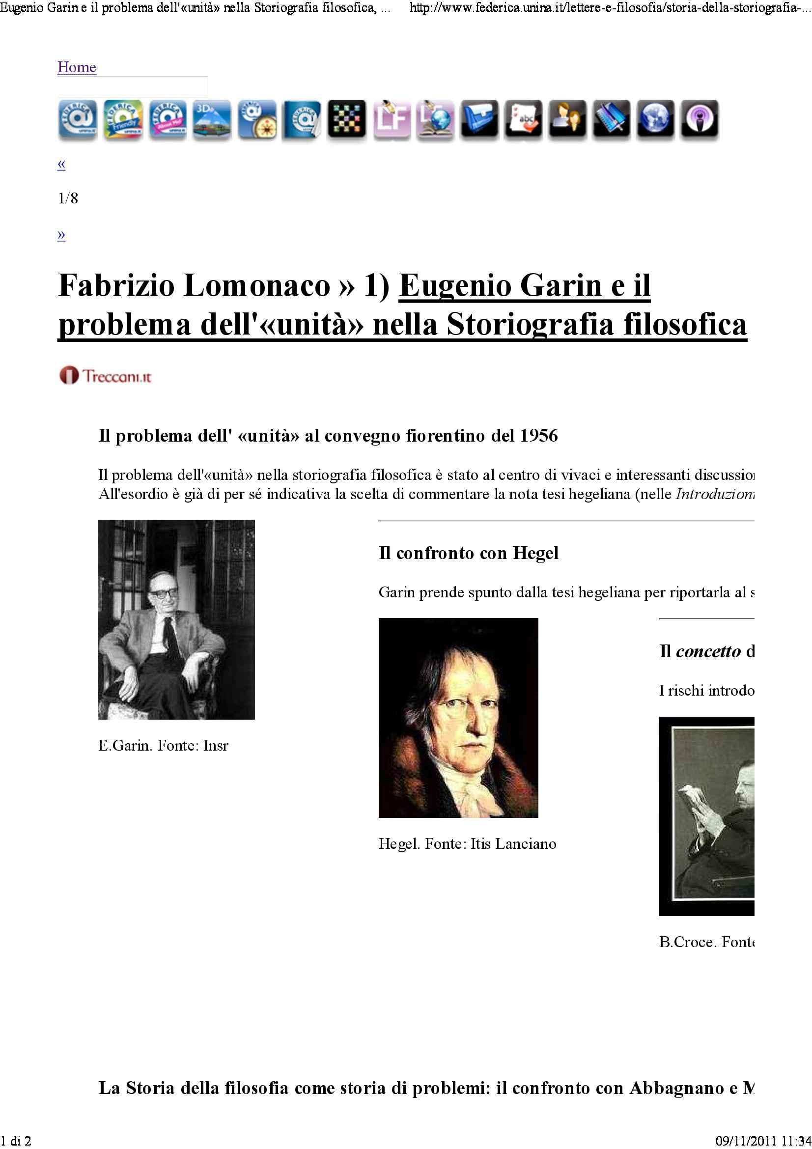 Eugenio Garin e il problema dell'unità nella storiografia filosofica