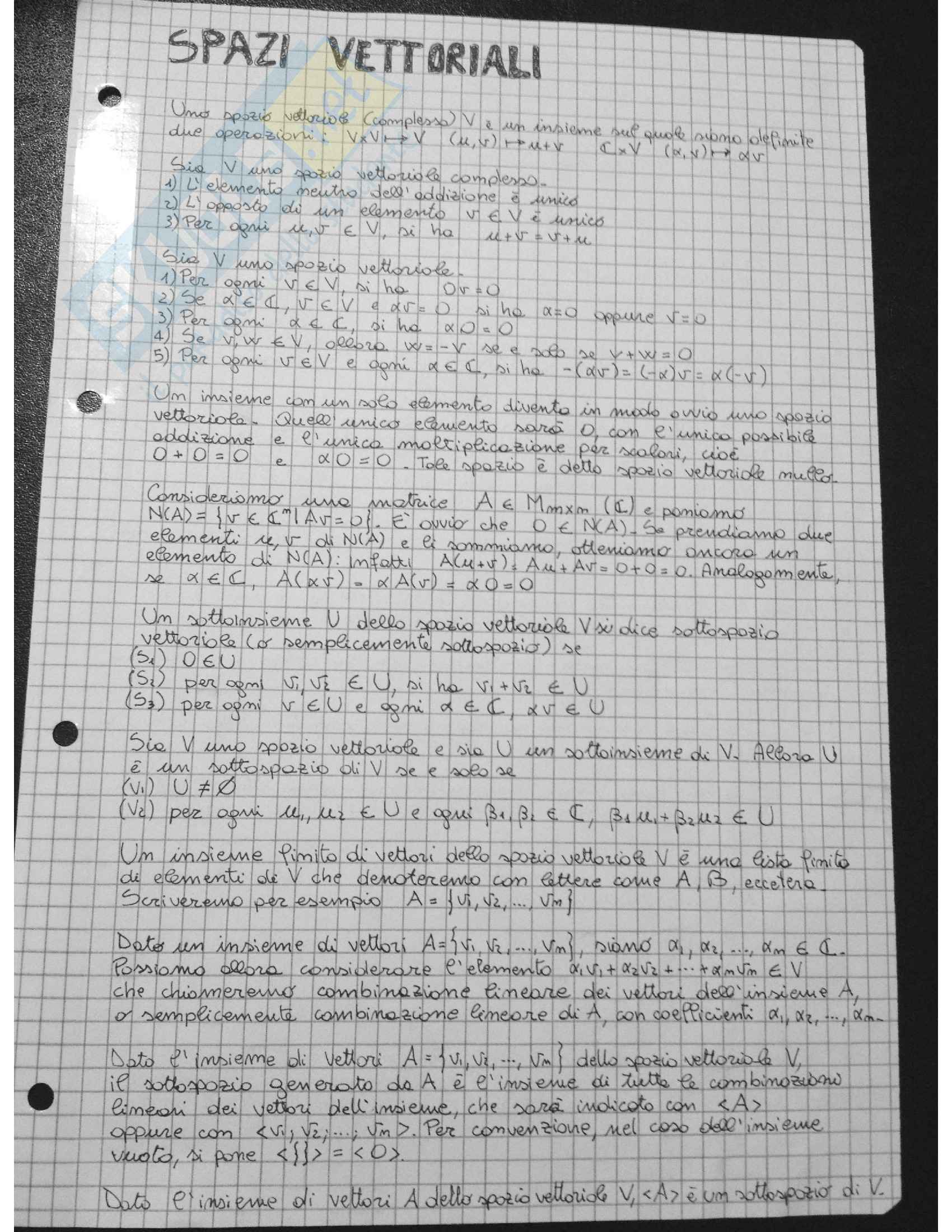 Algebra lineare - Esercizi