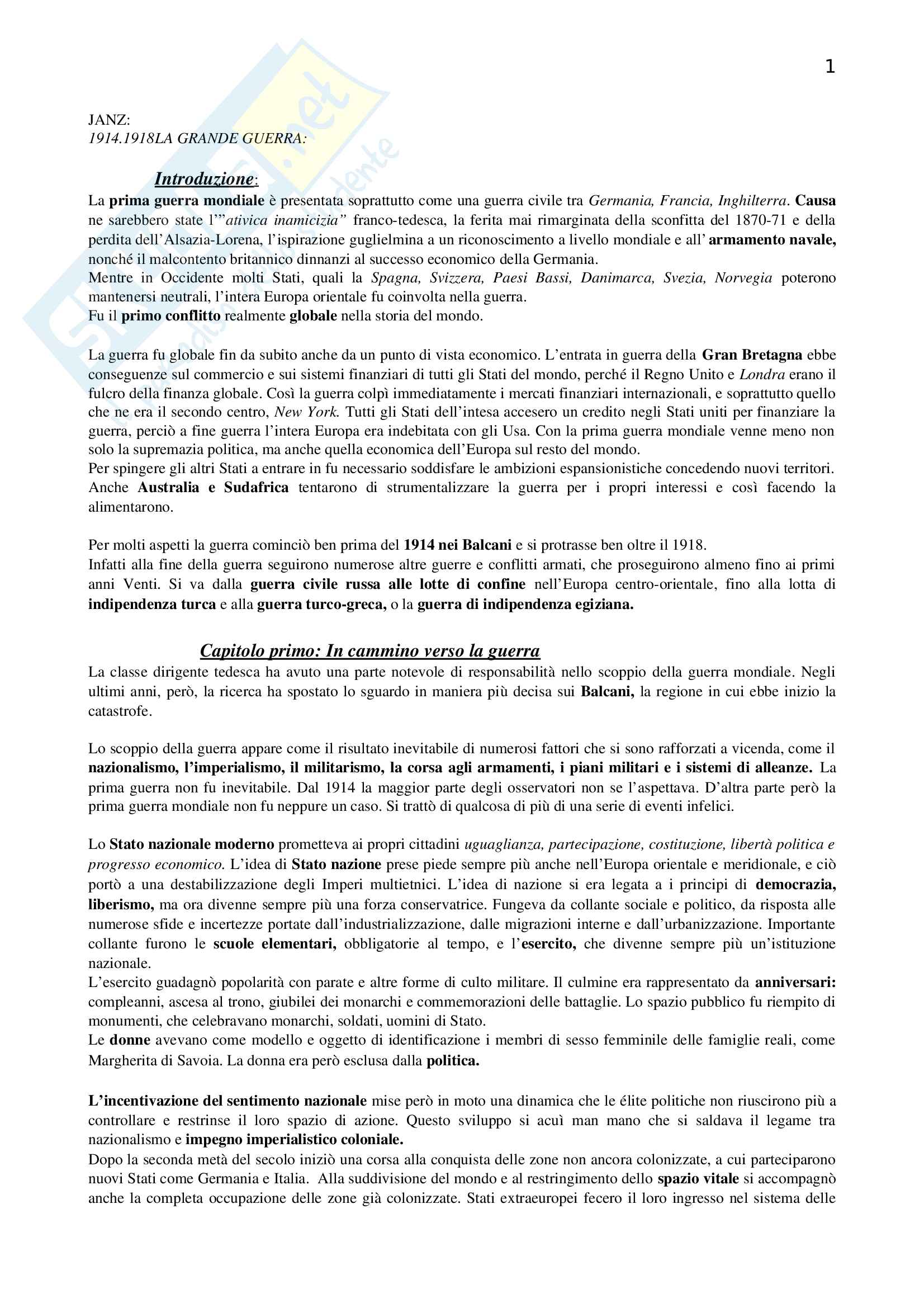 Riassunto esame Storia Contemporanea, prof. Bartoloni, libro consigliato La Grande Guerra, Janz