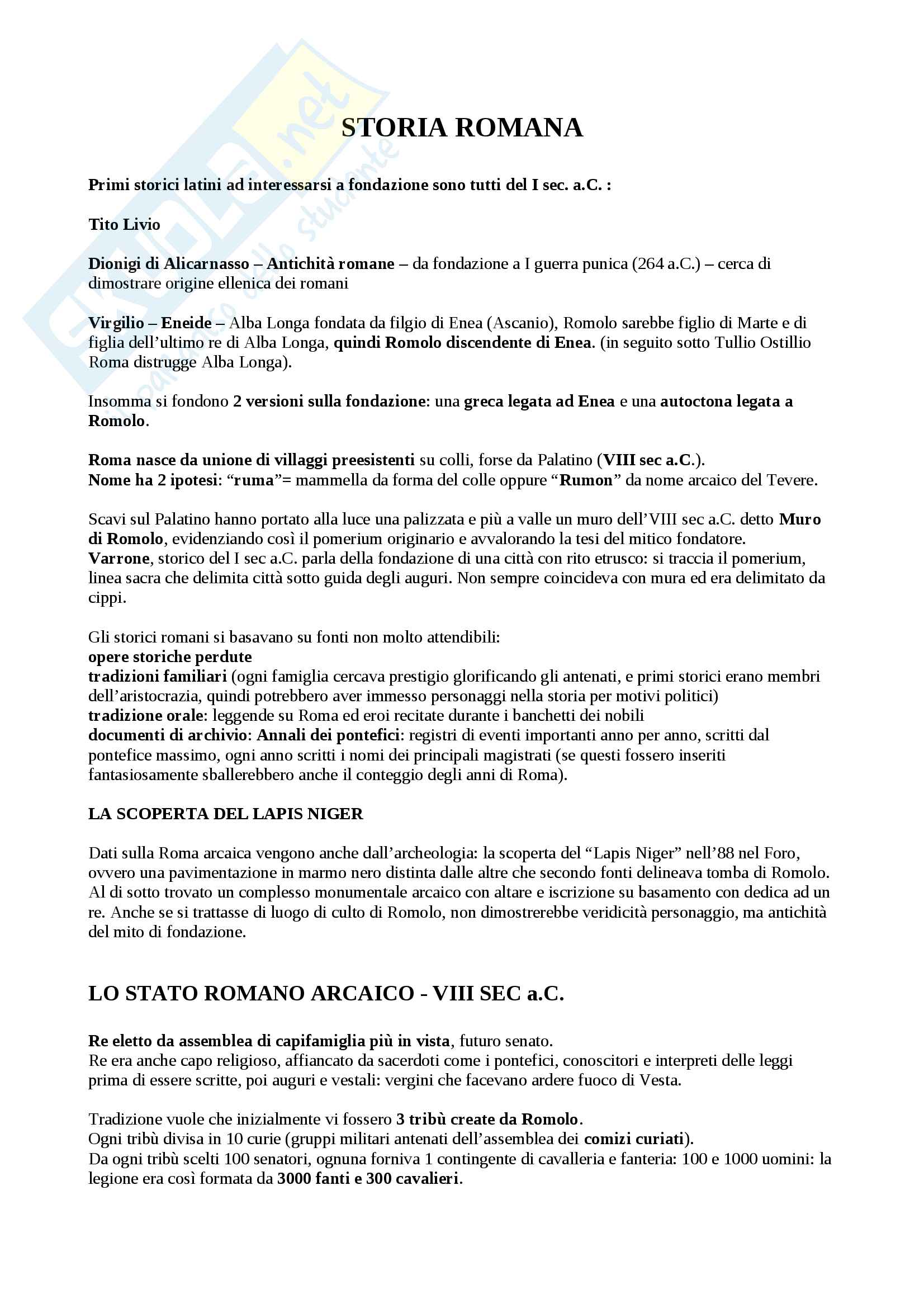Riassunto esame storia romana, prof. Gnoli, libro consigliato Storia Romana, Giovanni Geraci, Arnaldo Marcone