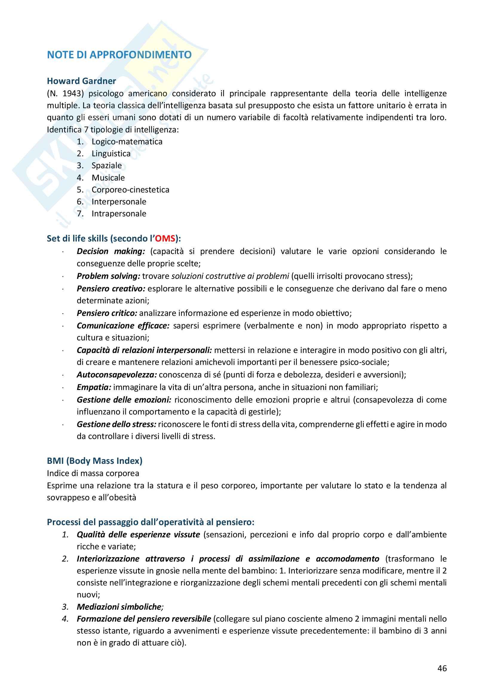 Riassunto esame Scienze Motorie, docente F. D'elia, libro consigliato Didattica delle attività motorie per l'età evolutiva, Francesco Casolo Pag. 46
