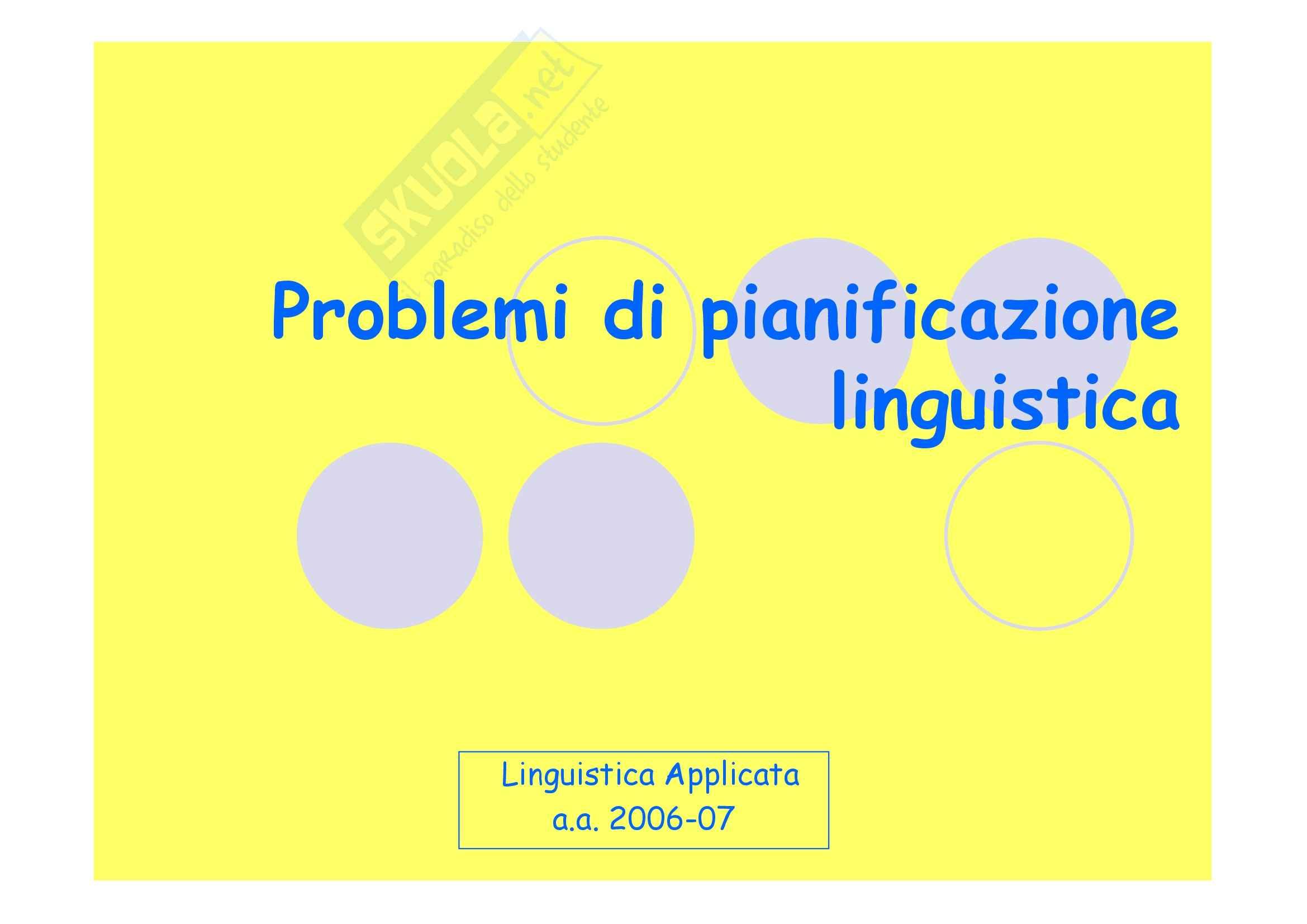 Linguistica applicata - la pianificazione linguistica