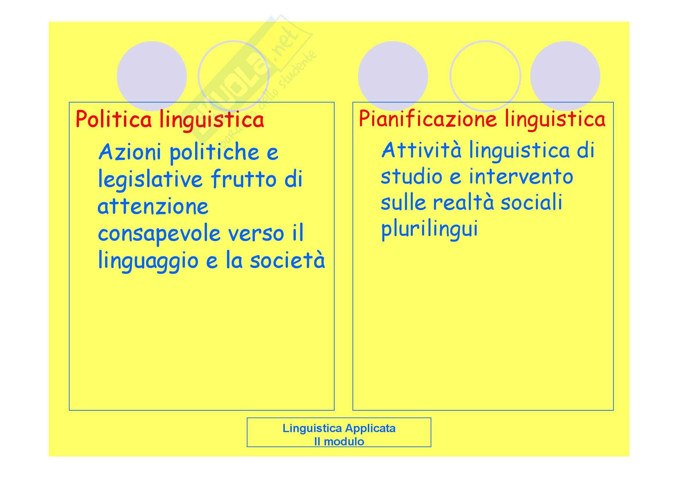 Linguistica applicata - la pianificazione linguistica Pag. 2
