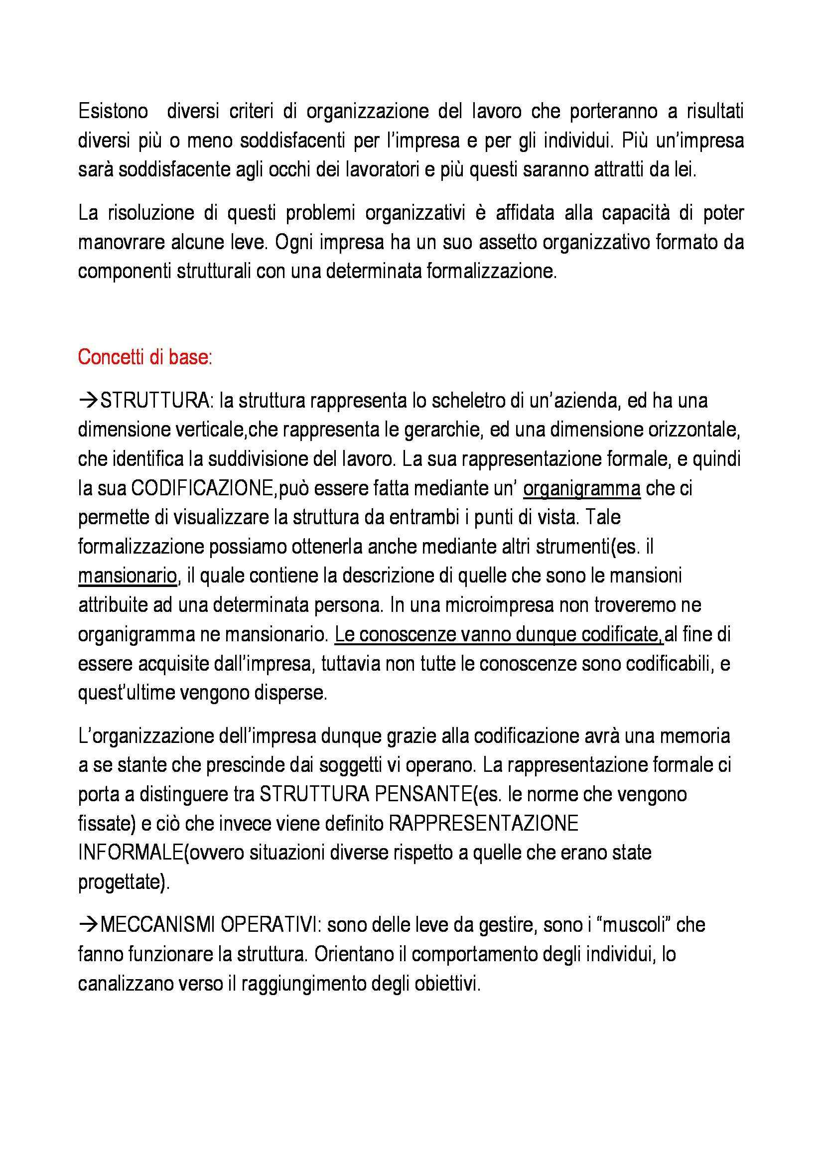 Organizzazione aziendale - Appunti Pag. 2