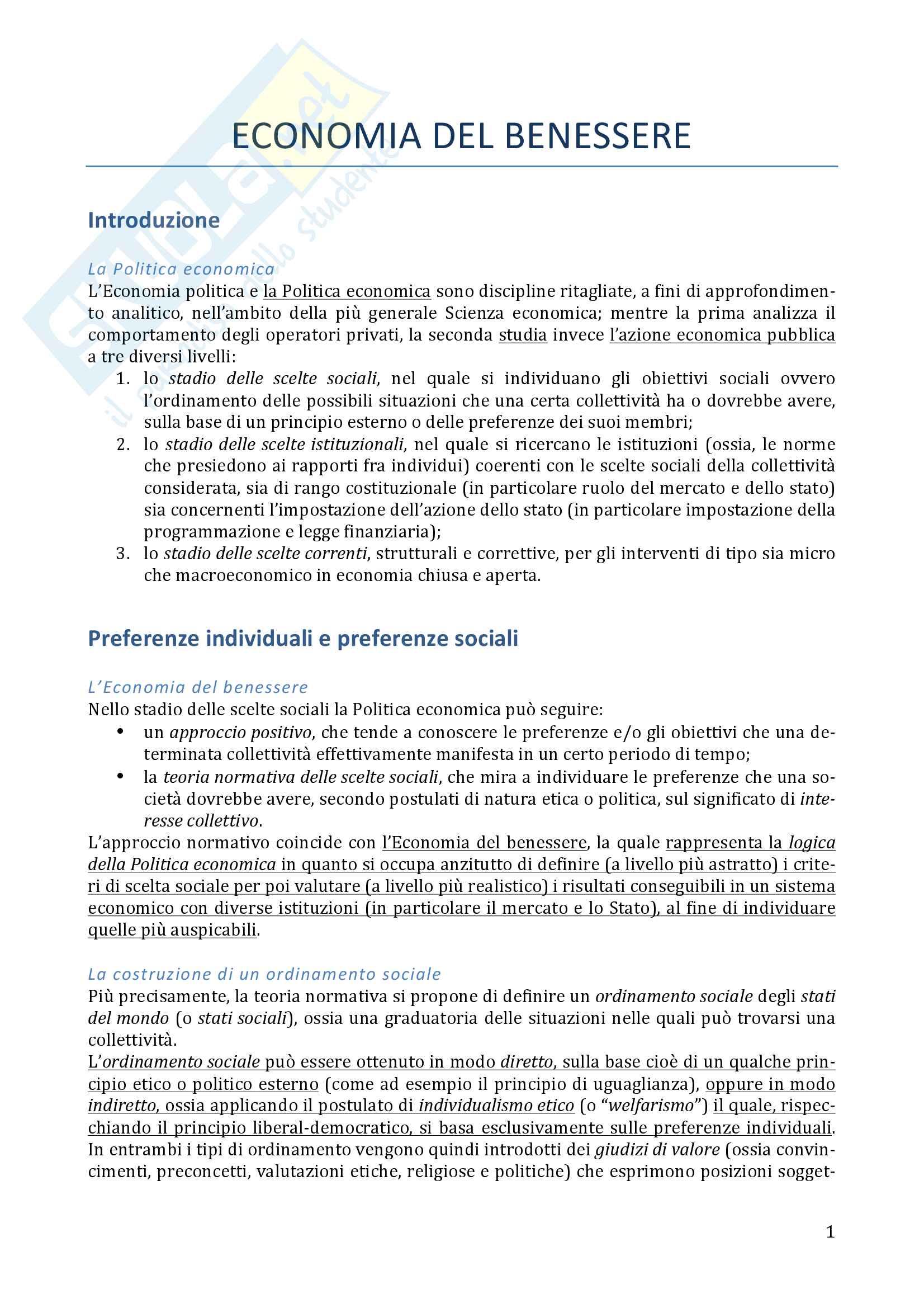 Riassunto esame Politica economica, prof. Vito Peragine, libro consigliato Economia del benessere. La logica della politica economica, Acocella