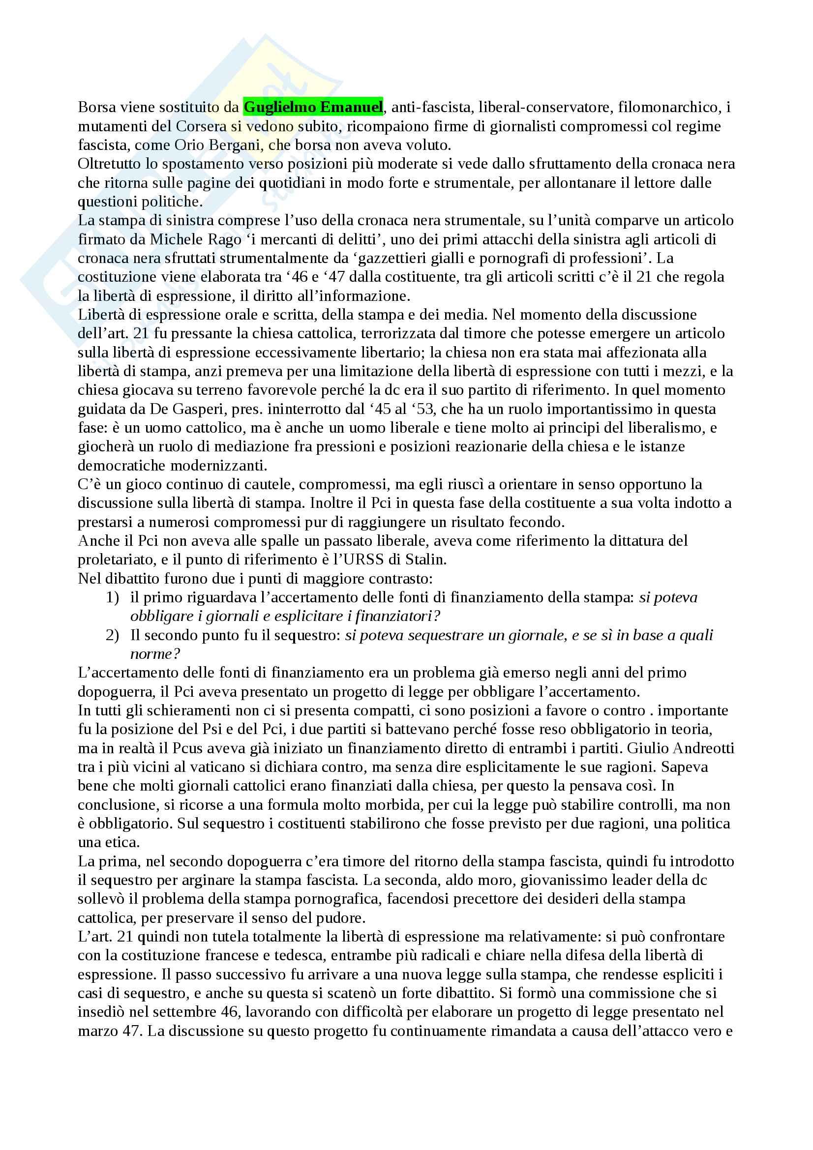 Appunti del corso di Storia del giornalismo, della prof.ssa Piazzoni Pag. 56