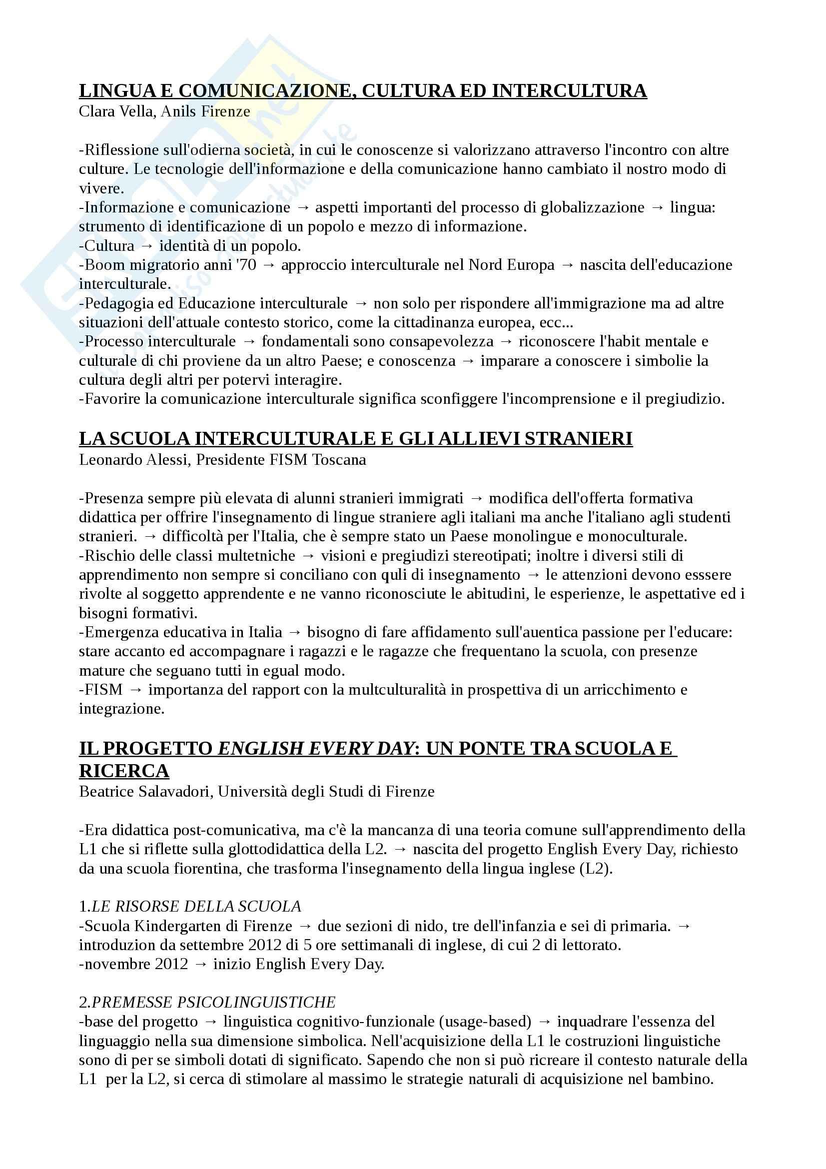Riassunto esame Lingue, culture, prof. Baldi, libro consigliato Aspetti comunicativi e interculturali dell'insegnamento delle lingue, Baldi