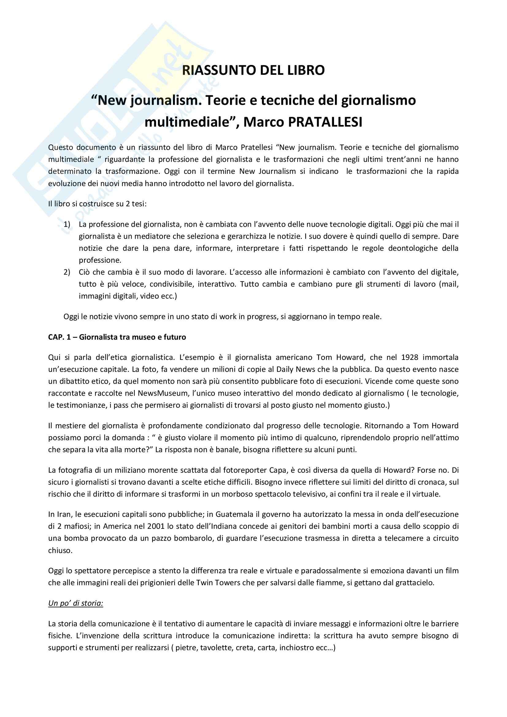 Riassunto esame Storia del Giornalismo, prof. Milan, libro consigliato New Journalism, Pratallesi