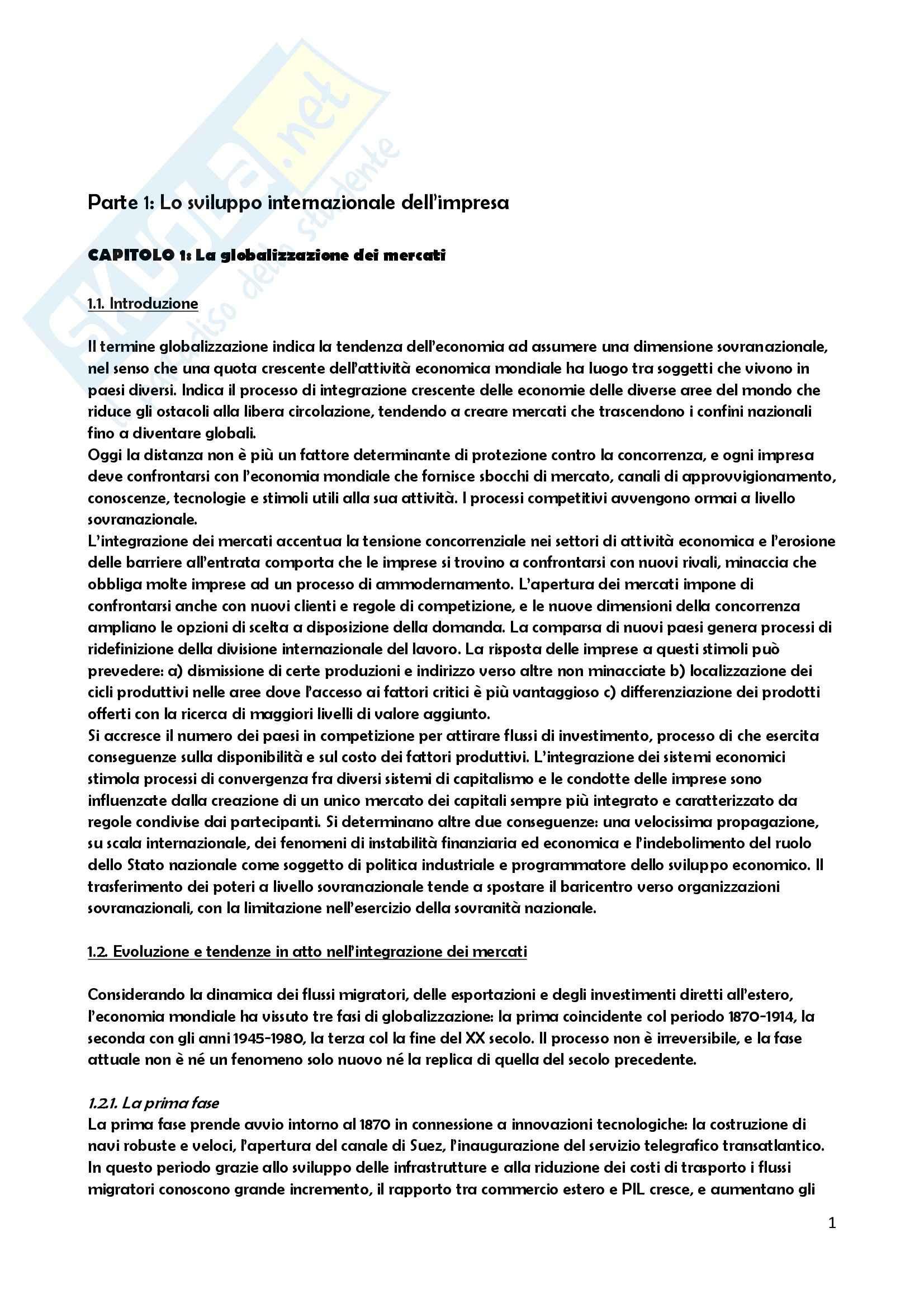Riassunto esame Gestione delle Imprese, prof. Benevolo, libro consigliato Mercati internazionali e marketing Valdani, Bertoli