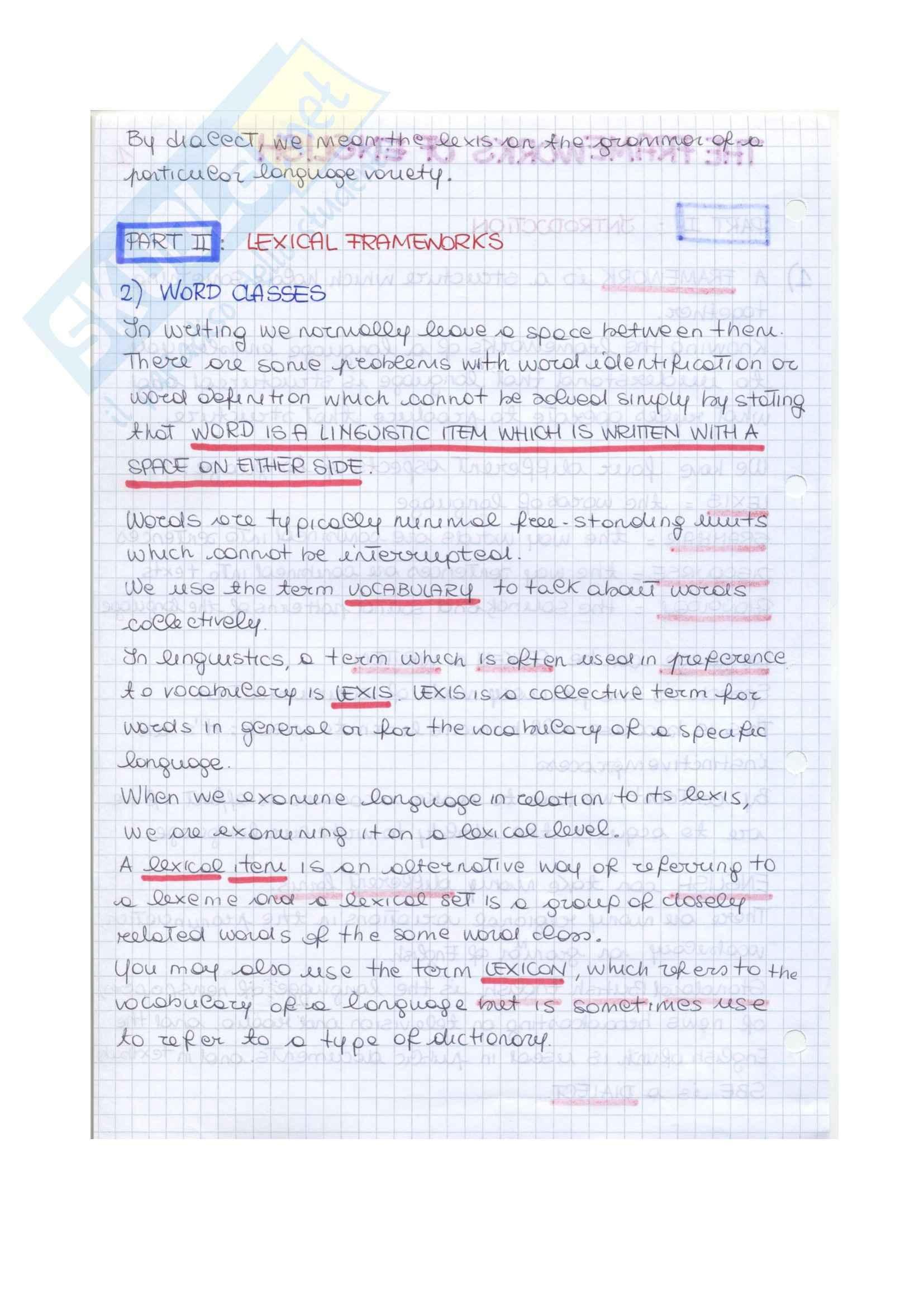 Riassunto esame Linguistica Inglese, prof. Camaiora, libro consigliato The Frameworks of english, Ballard Pag. 2