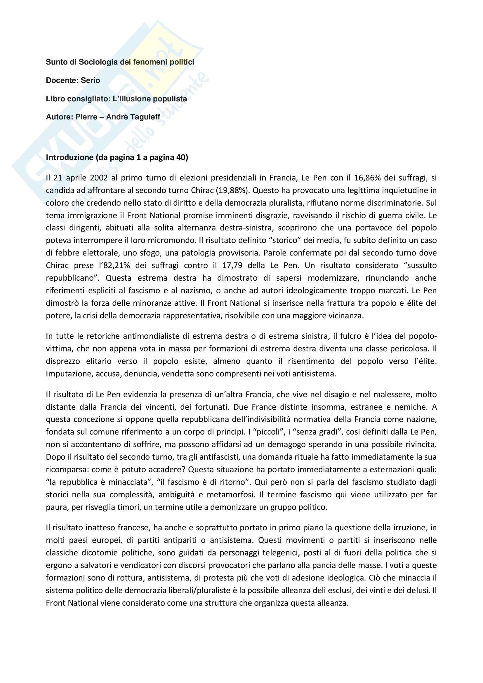 Riassunto esame Sociologia dei fenomeni politici, Docente: Serio Libro consigliato: L'illusione populista, Autore: Pierre-André Taguieff