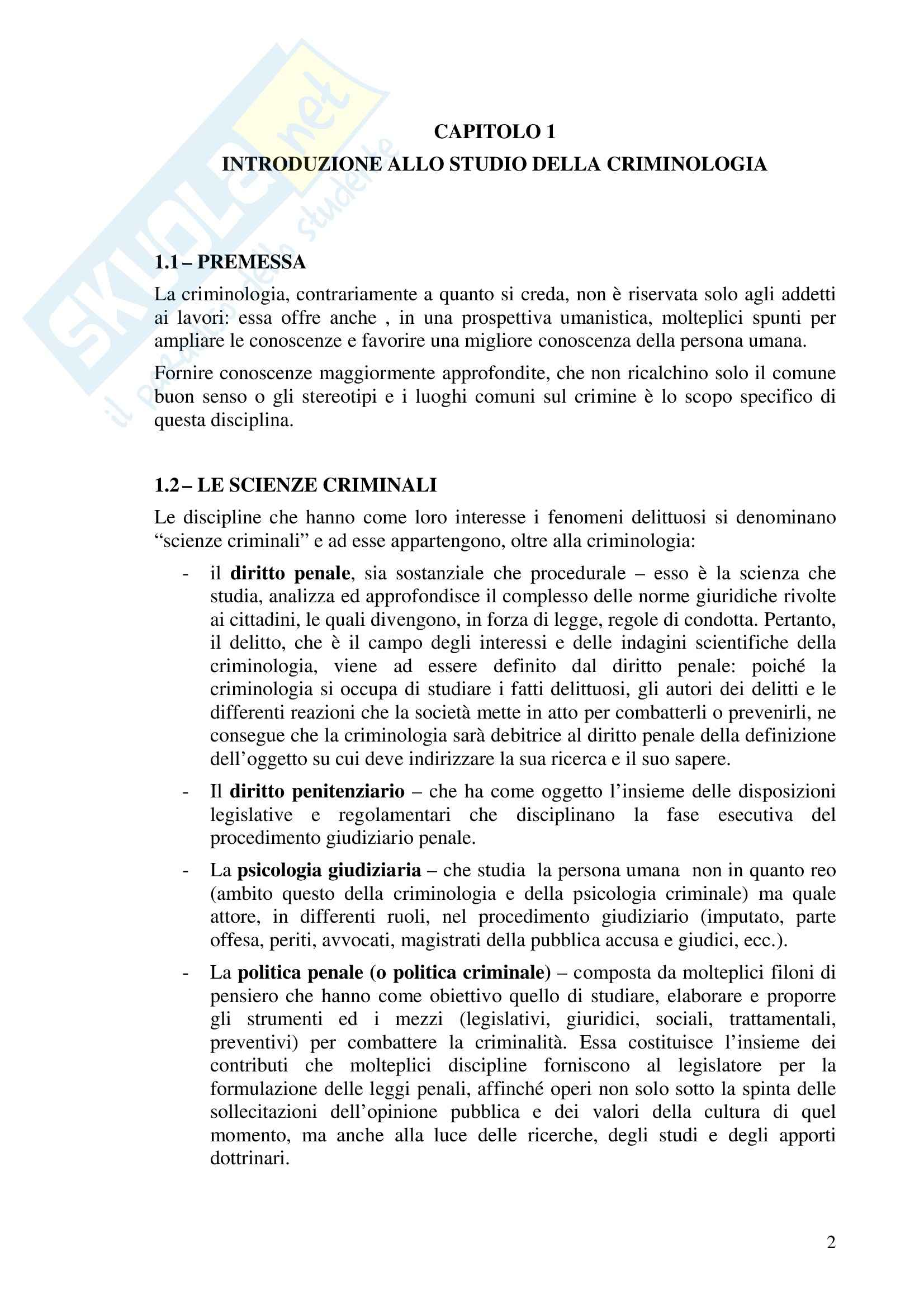 Riassunto esame Criminologia, prof. Bettini, libro consigliato Compendio di Criminologia, Ponti