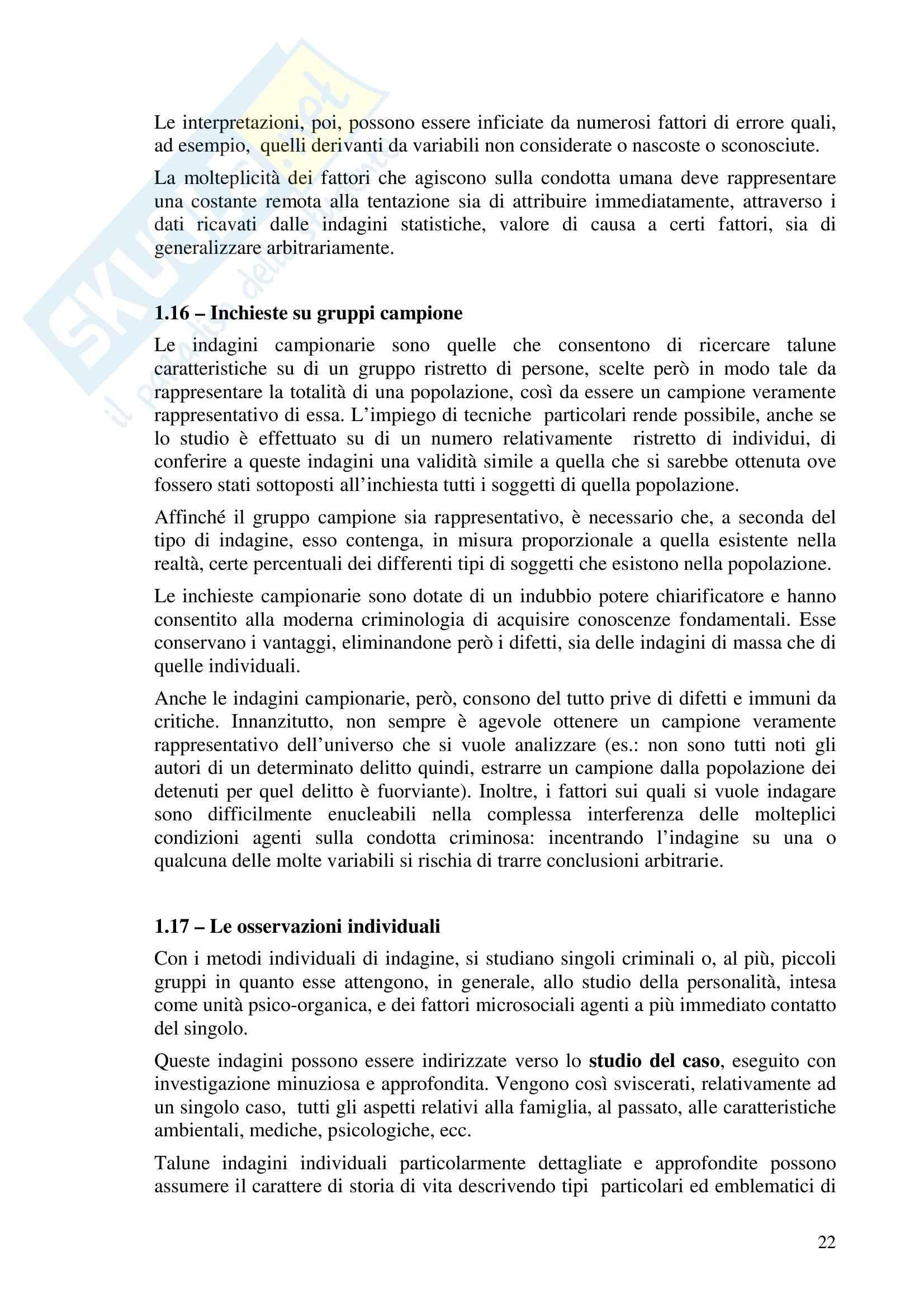 Riassunto esame Criminologia, prof. Bettini, libro consigliato Compendio di Criminologia, Ponti Pag. 21