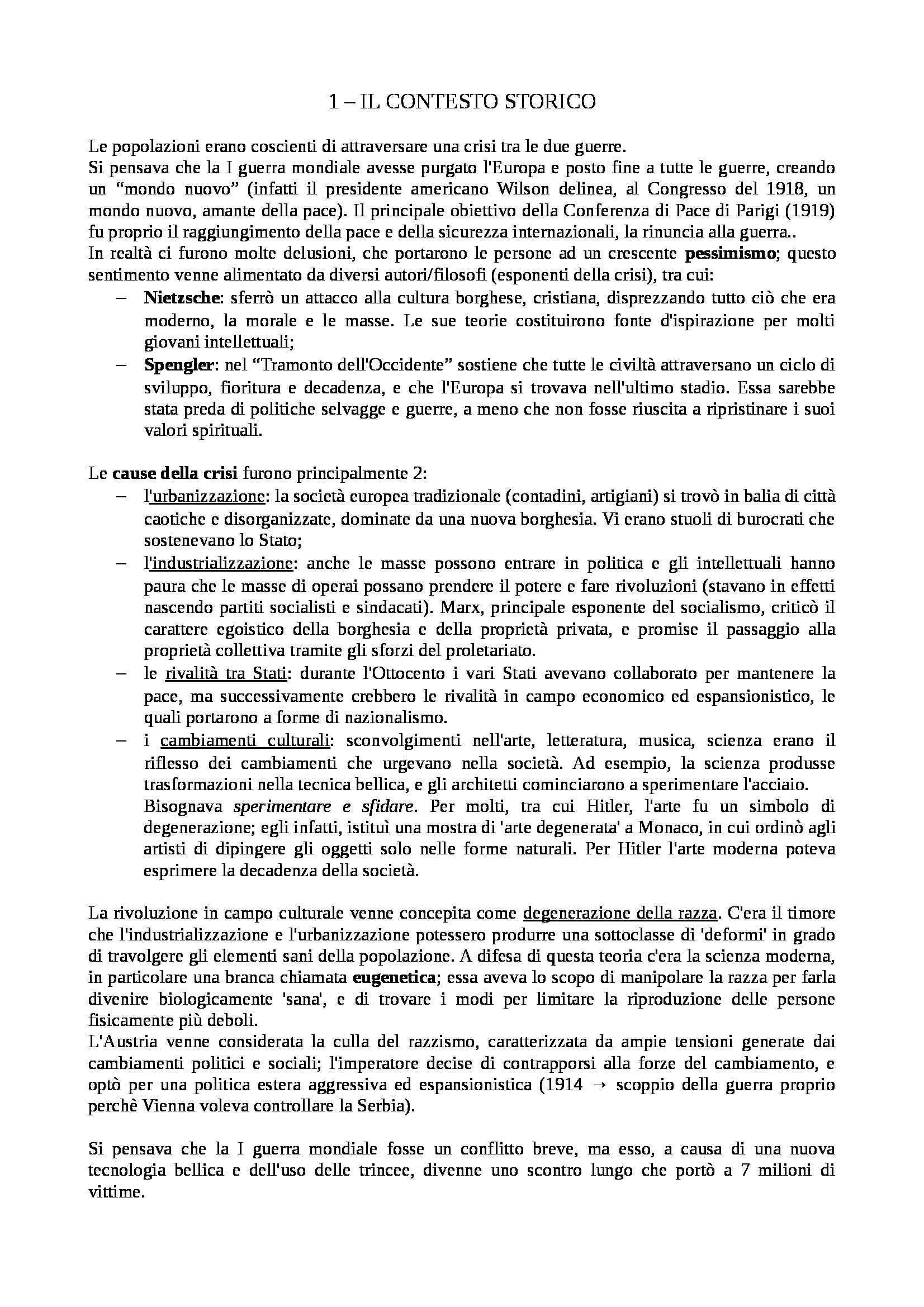 Riassunto esame Storia Contemporanea, prof. Novarino, libro consigliato Crisi tra le Due Guerre Mondiali 1919-1939 di Overy