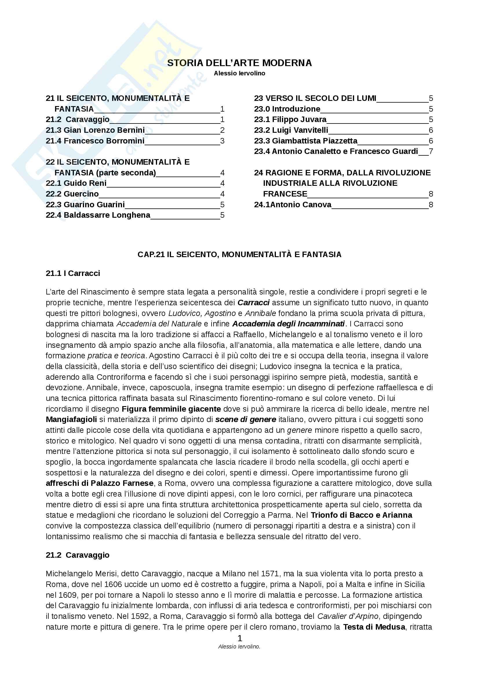 Riassunto esame Storia dell'Arte Moderna, prof. Terzaghi, libro consigliato Itinerario nell'arte Volume 4, Cricco Di Teodoro