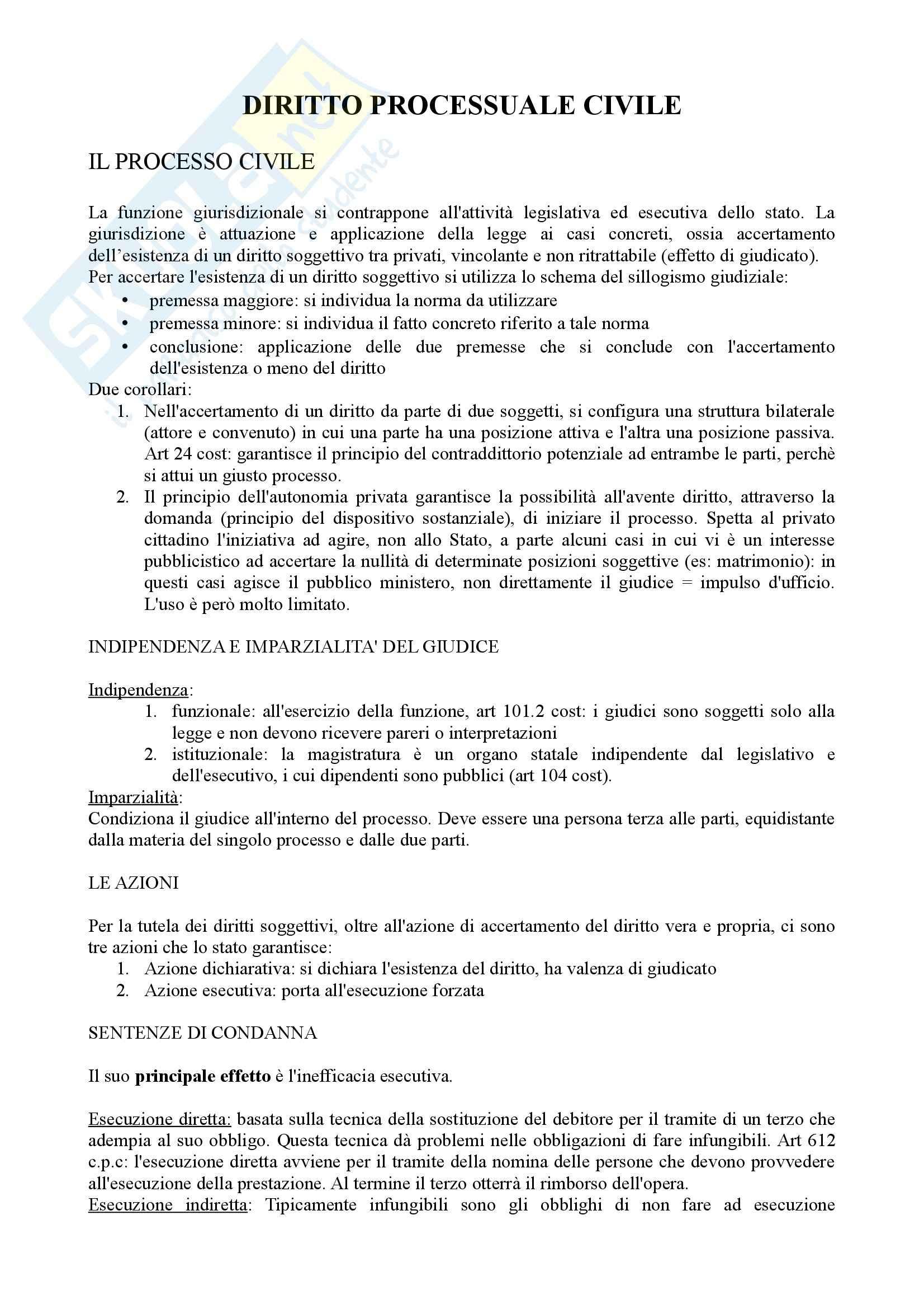 Diritto processuale civile - Appunti (parte 1)
