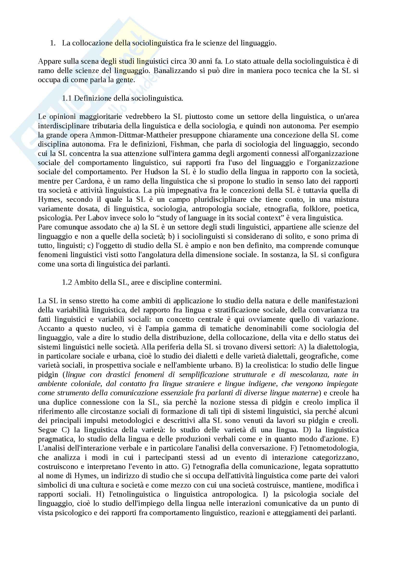 appunto M. Chini Sociolinguistica