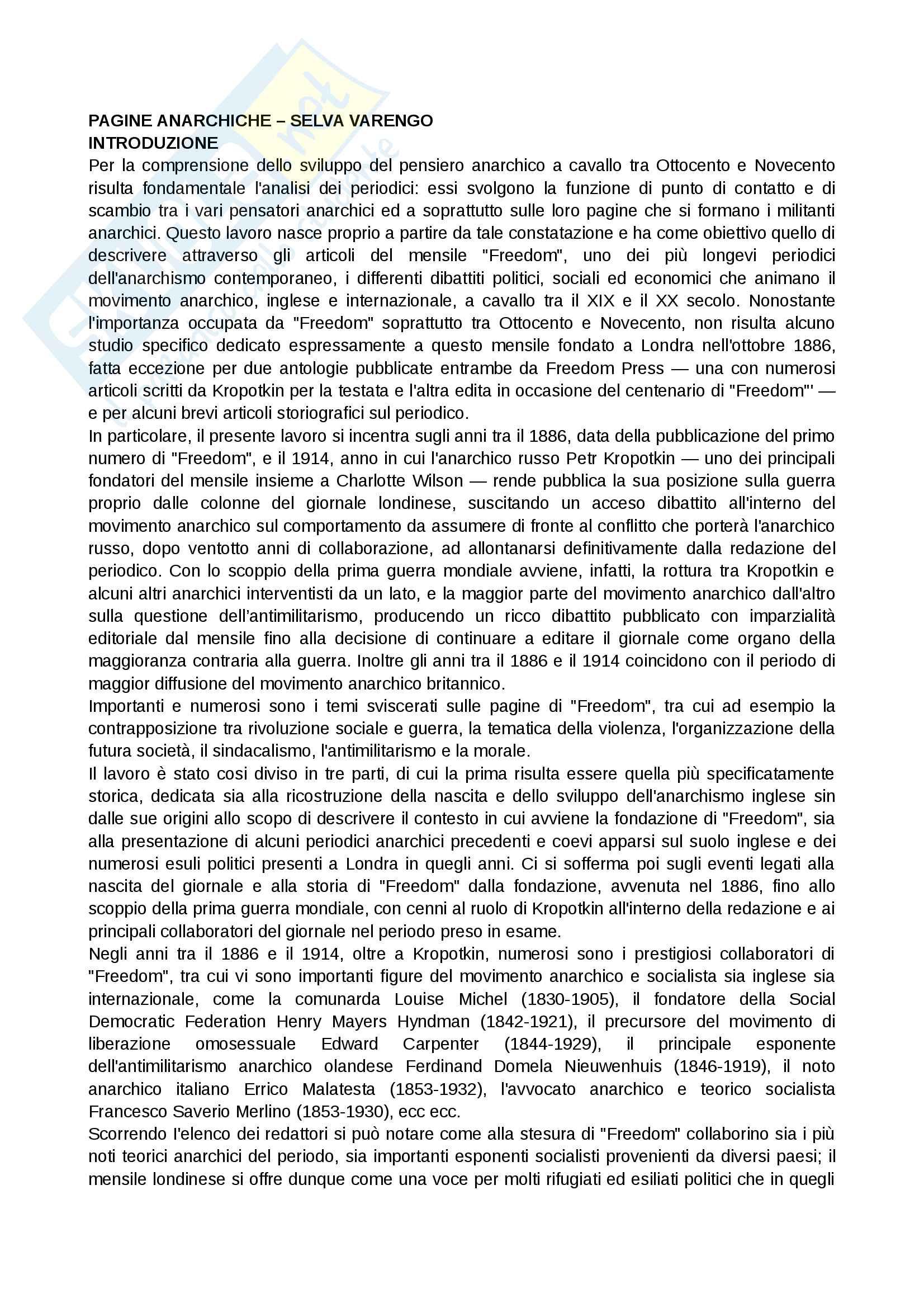 Riassunto esame Storia delle dottrine politiche, prof. Del Corno, libro consigliato: Pagine anarchiche di Selva Varengo