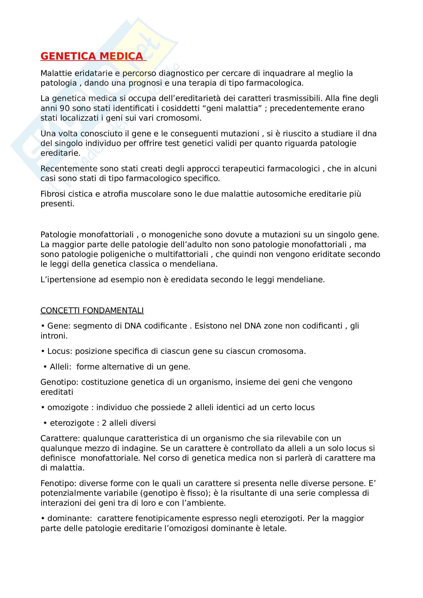 Genetica medica: introduzione e malattie autosomiche dominanti