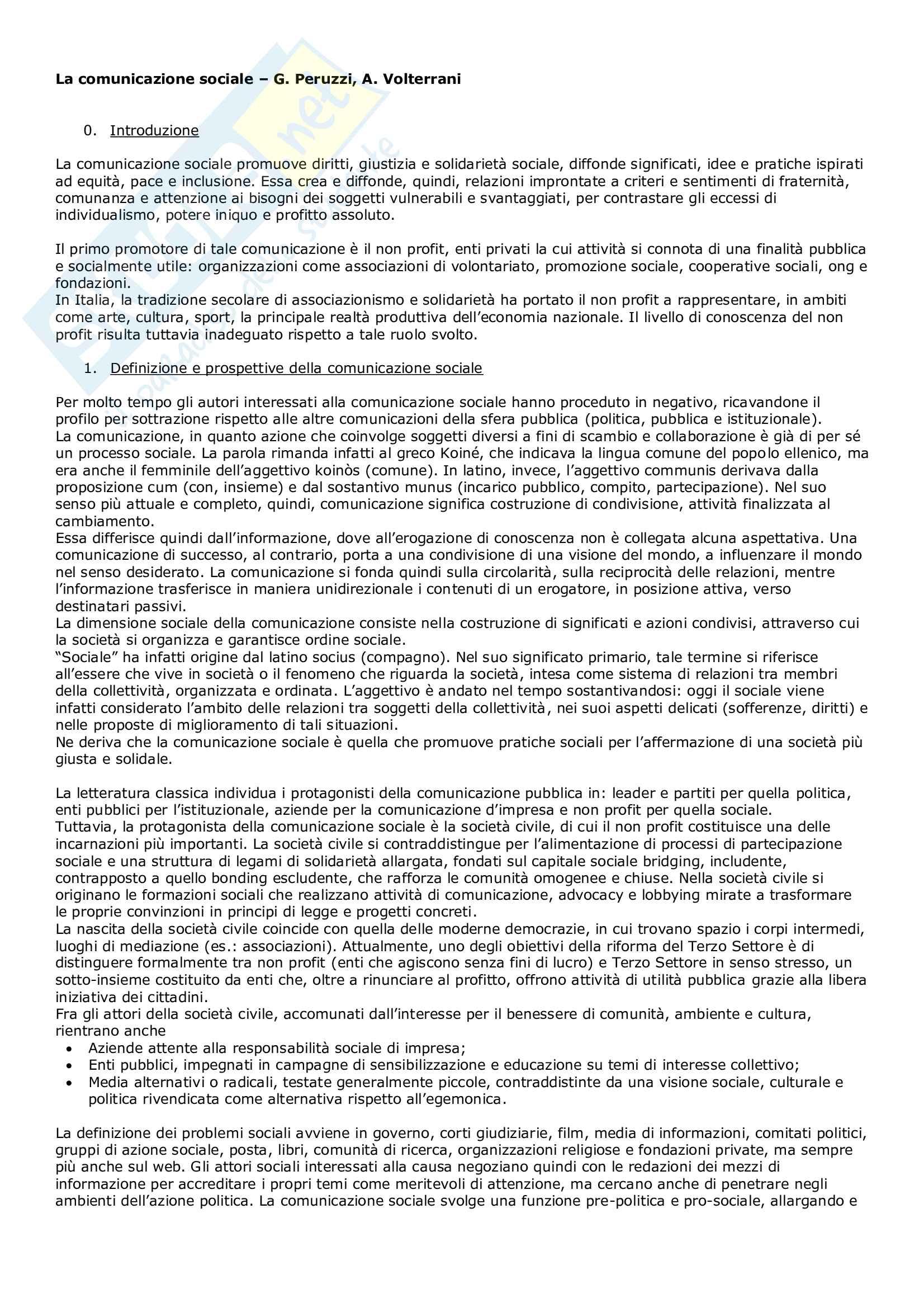 Riassunto esame Comunicazione pubblica e sociale, prof. Sobrero, libro consigliato La comunicazione sociale, Peruzzi, Volterrani