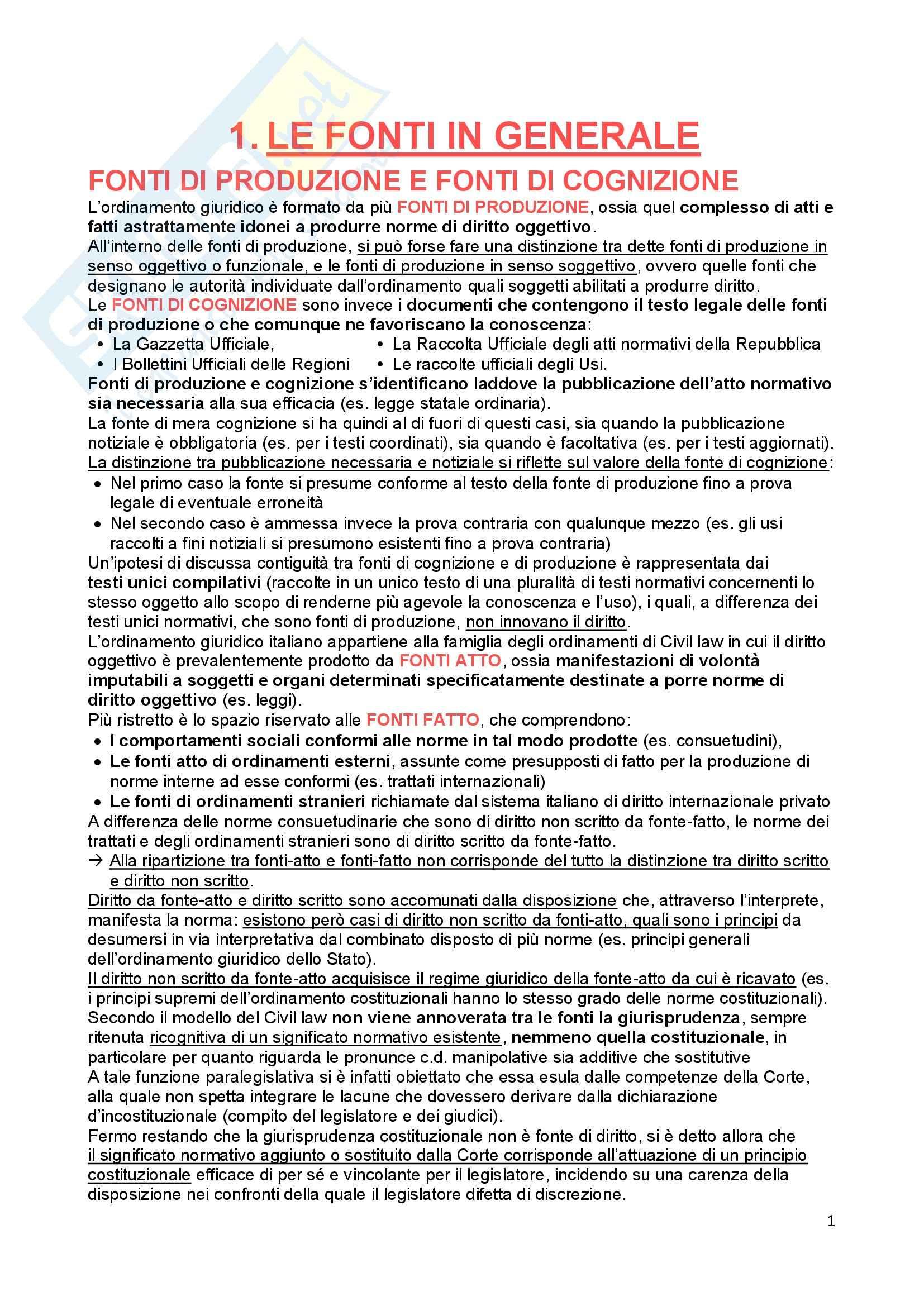 Riassunto esame Diritto Costituzionale, prof. Ferri, libro consigliato Fonti dell'ordinamento repubblicano, Pedrazza Gorlero