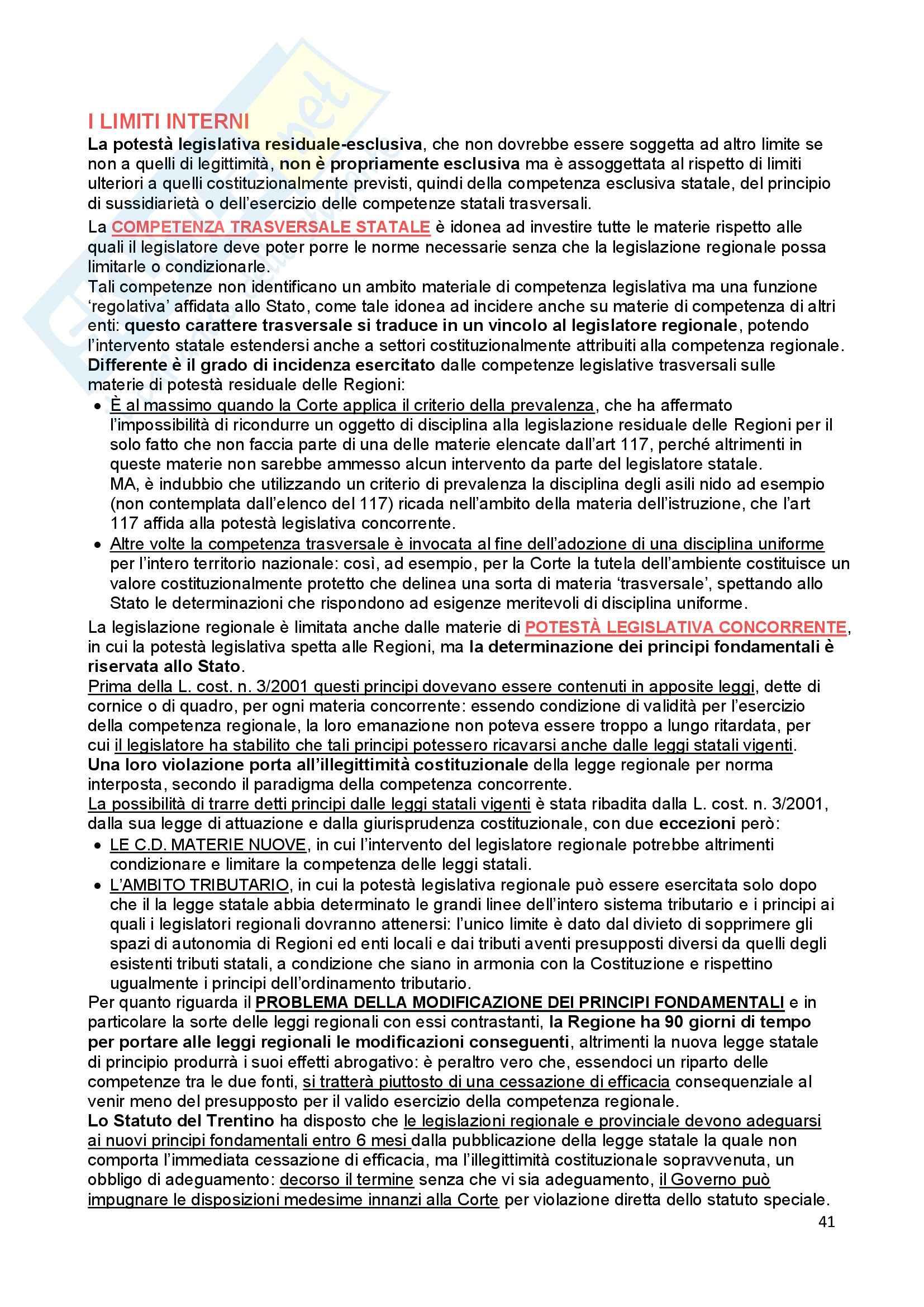 Riassunto esame Diritto Costituzionale, prof. Ferri, libro consigliato Fonti dell'ordinamento repubblicano, Pedrazza Gorlero Pag. 41
