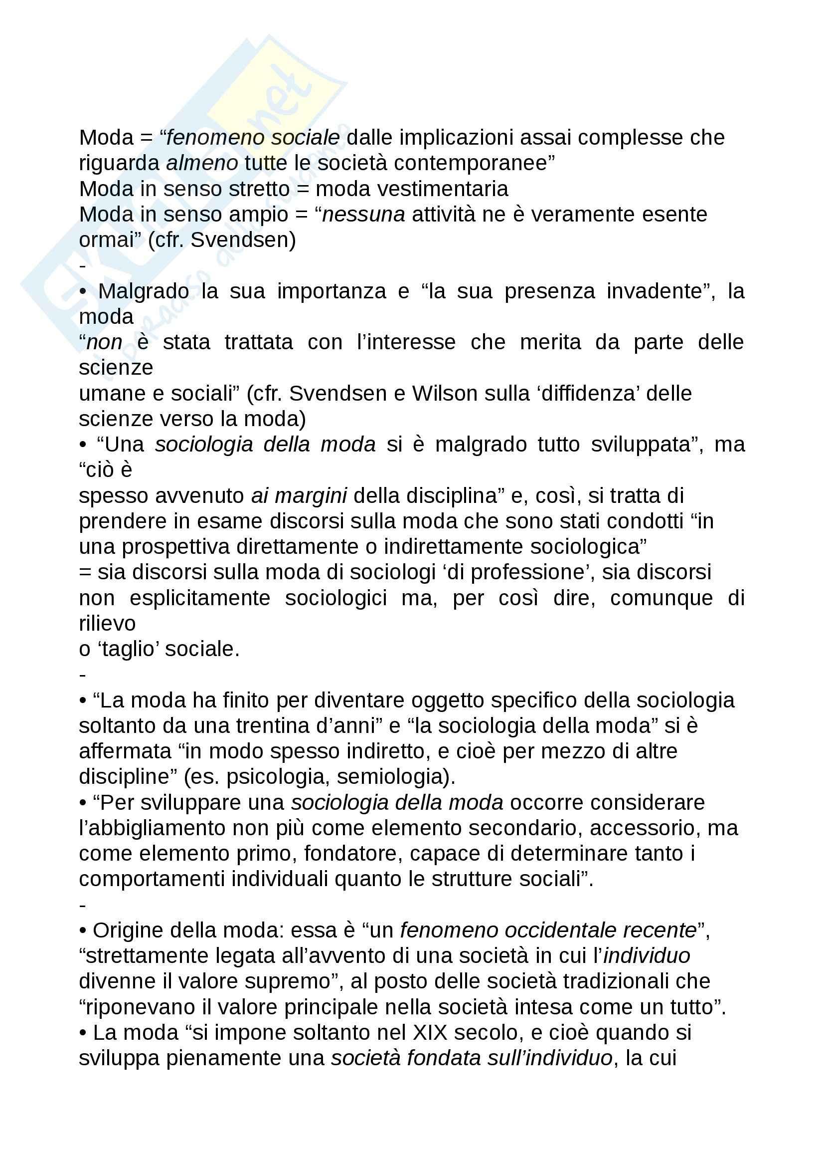 Riassunto esame Estetica, prof. Matteucci, libro consigliato Sociologia della moda, Monneyron