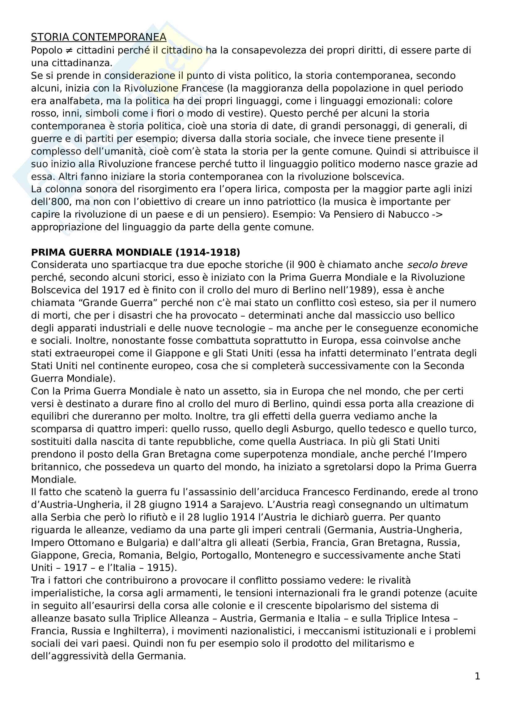 Riassunto esame Storia contemporanea, prof. Pivato, libro consigliato: Storia Contemporanea, vol. 2: Il Novecento, Detti, Gozzini