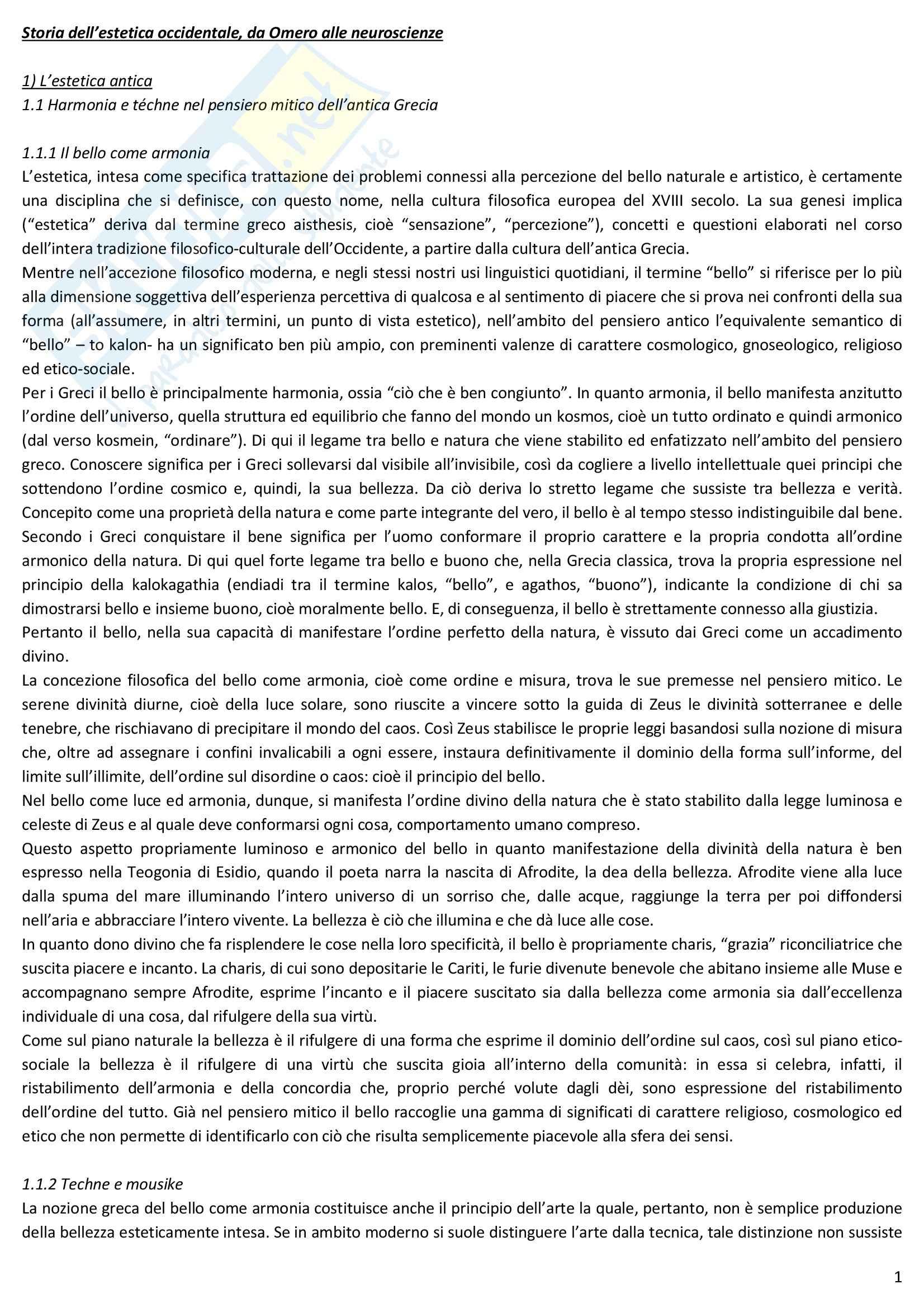 Riassunto esame Estetica, prof. Desideri, libro consigliato Storia dell'estetica occidentale da Omero alle neuroscienze, Desideri, Cantelli