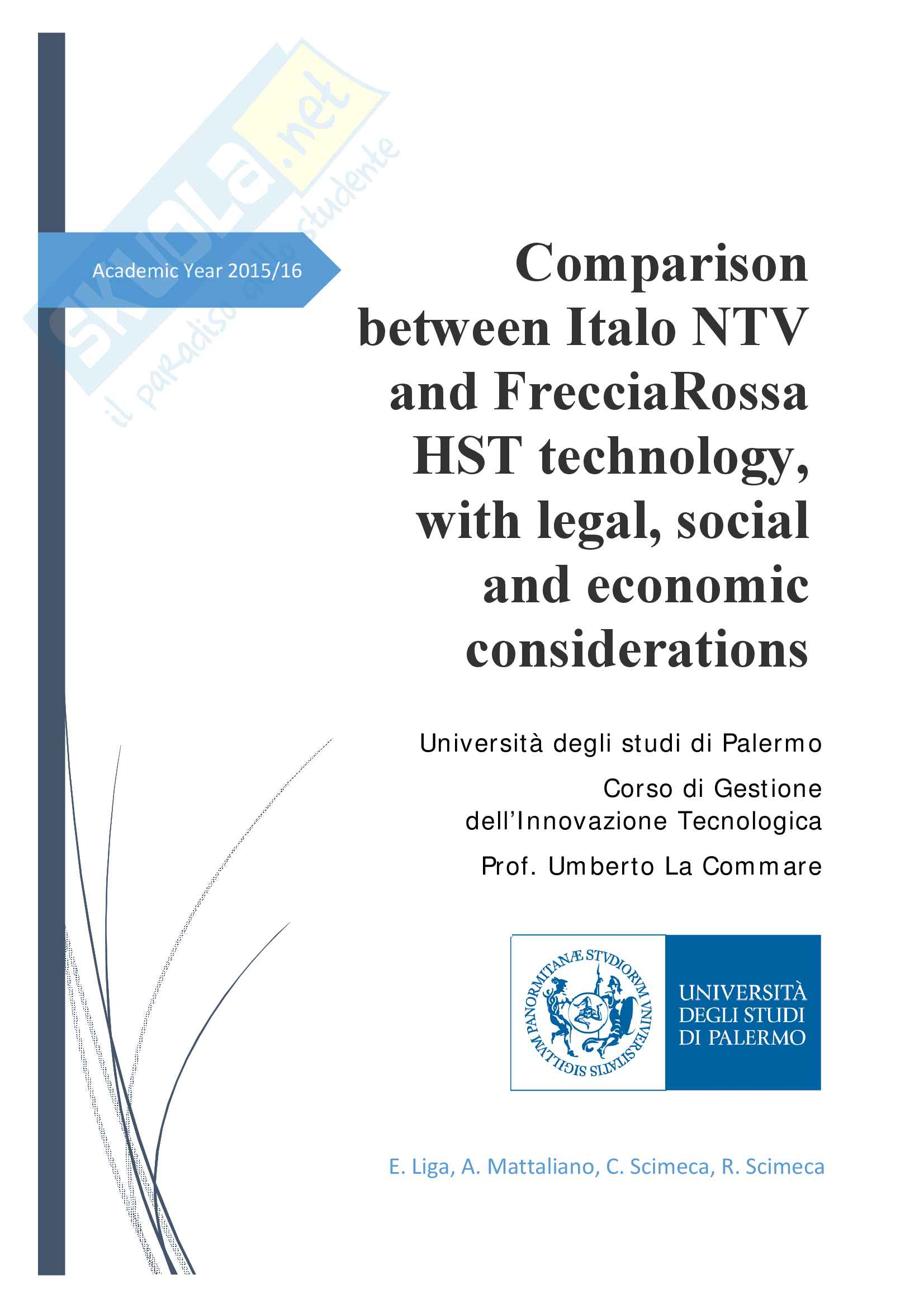 Comparison between Italo NTV and FrecciaRossa with legal, social and economic considerations