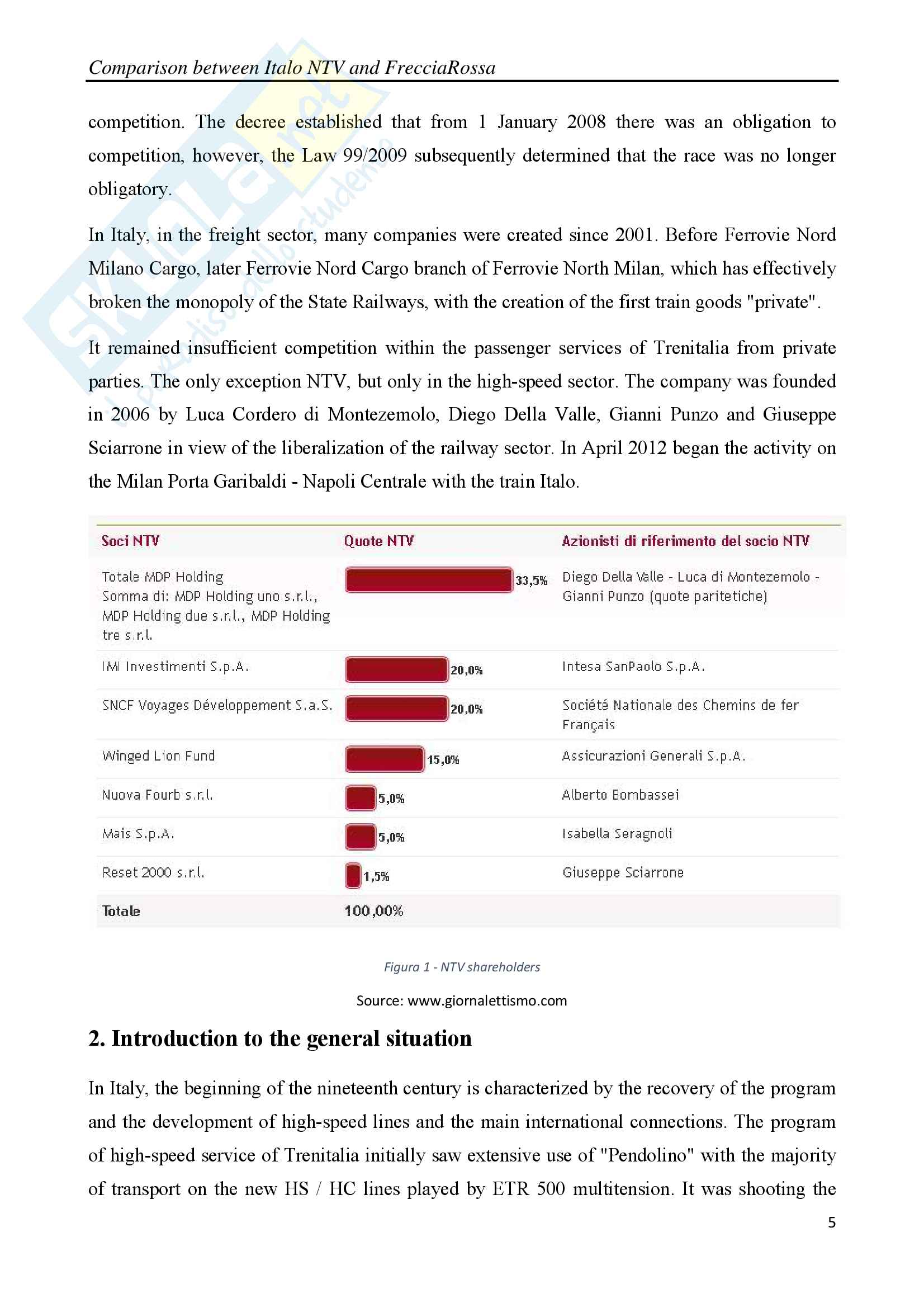 Comparison between Italo NTV and FrecciaRossa with legal, social and economic considerations Pag. 6
