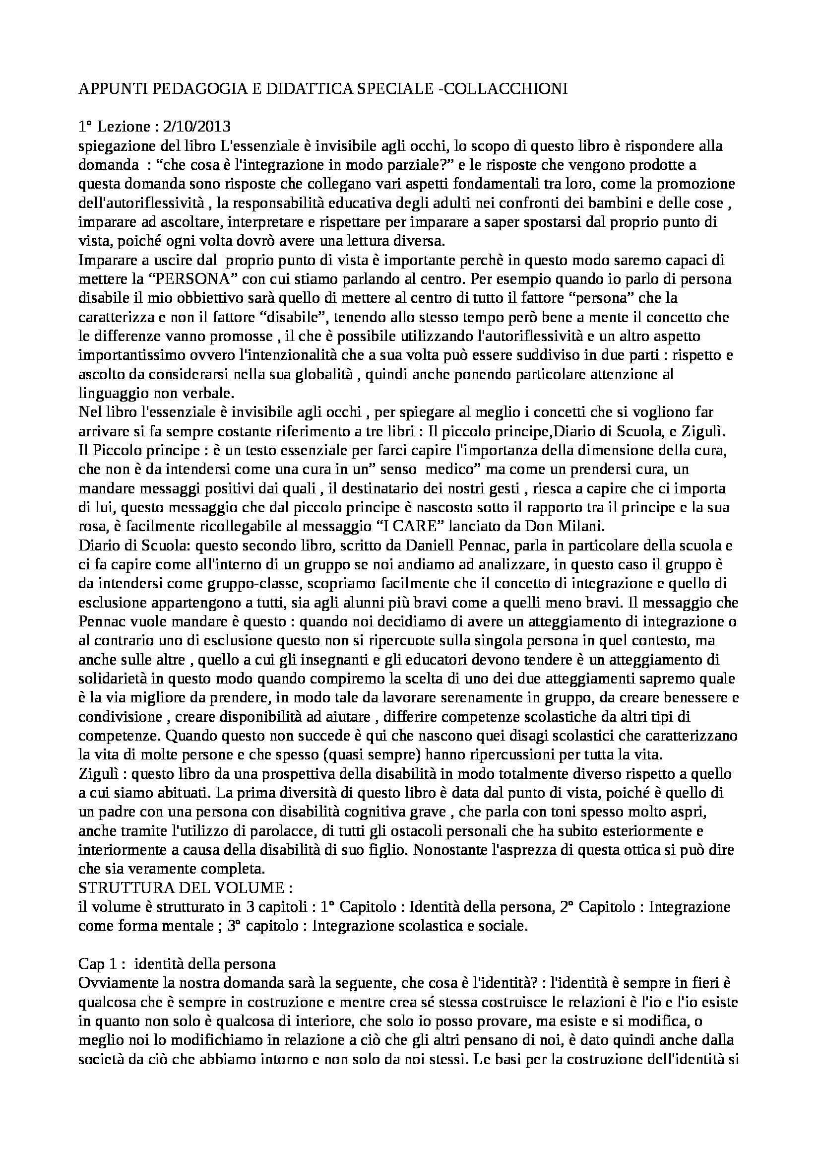Pedagogia e Didattica speciale - Appunti
