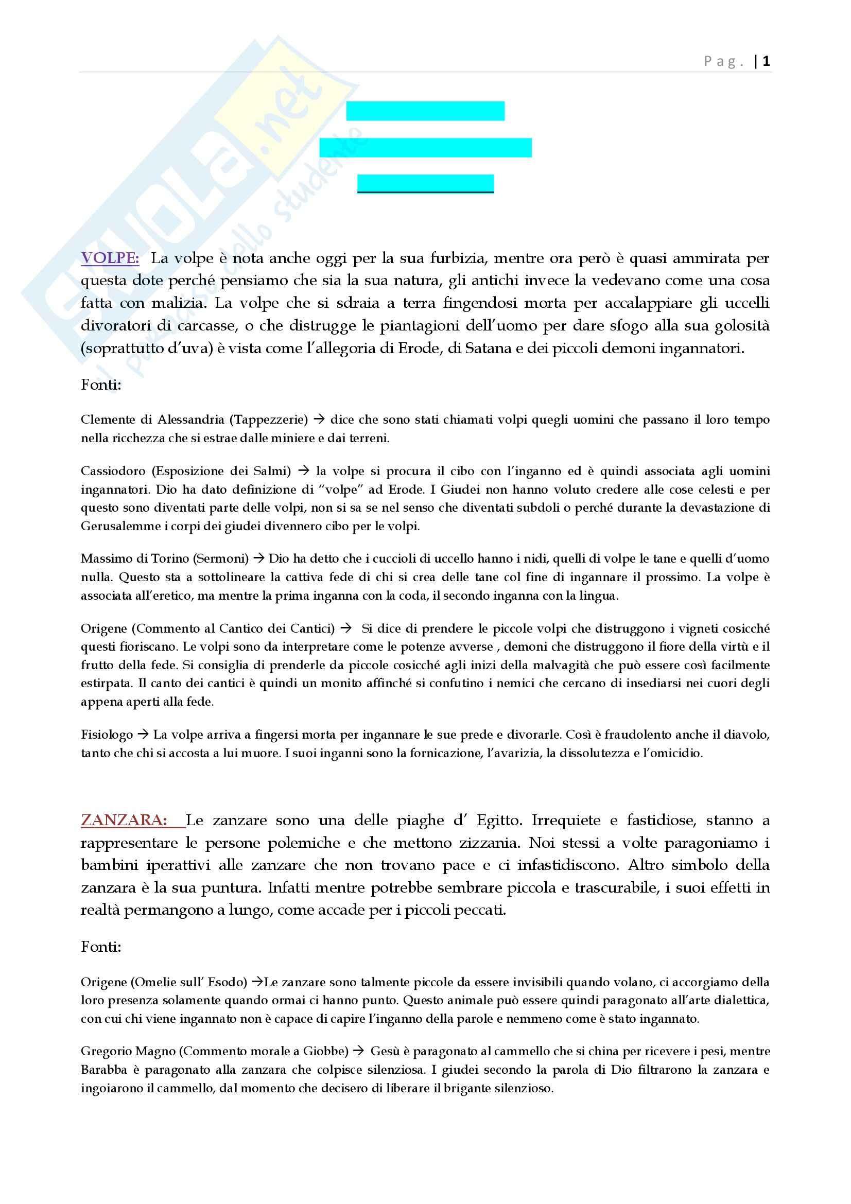Riassunto esame Introduzione alla letteratura cristiana antica, prof. Ciccarese, libro consigliato Animali simbolici, volume 2, Ciccarese