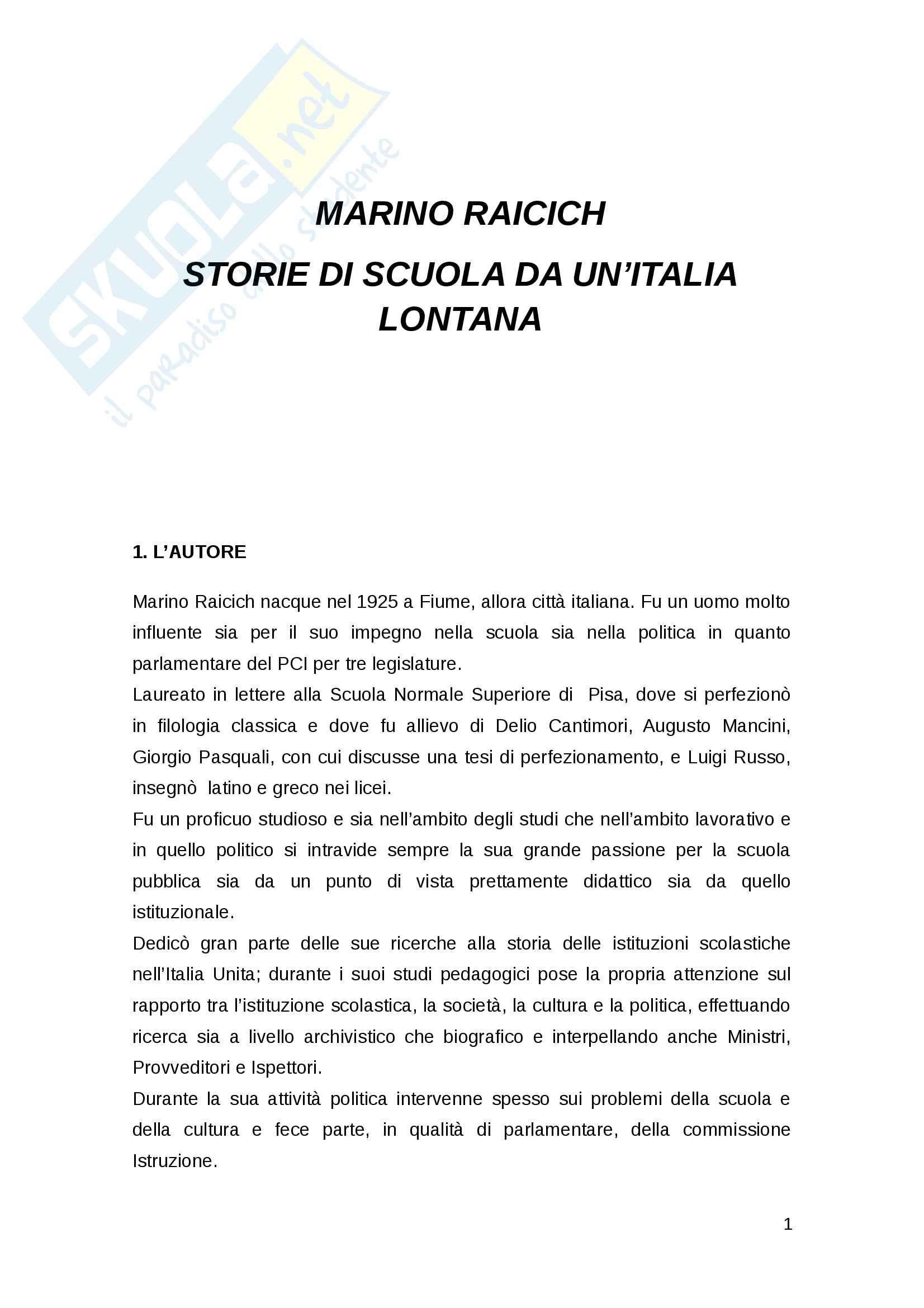 Marino Raicich, Storie di scuola da un'Italia lontana. Analisi personale del testo.