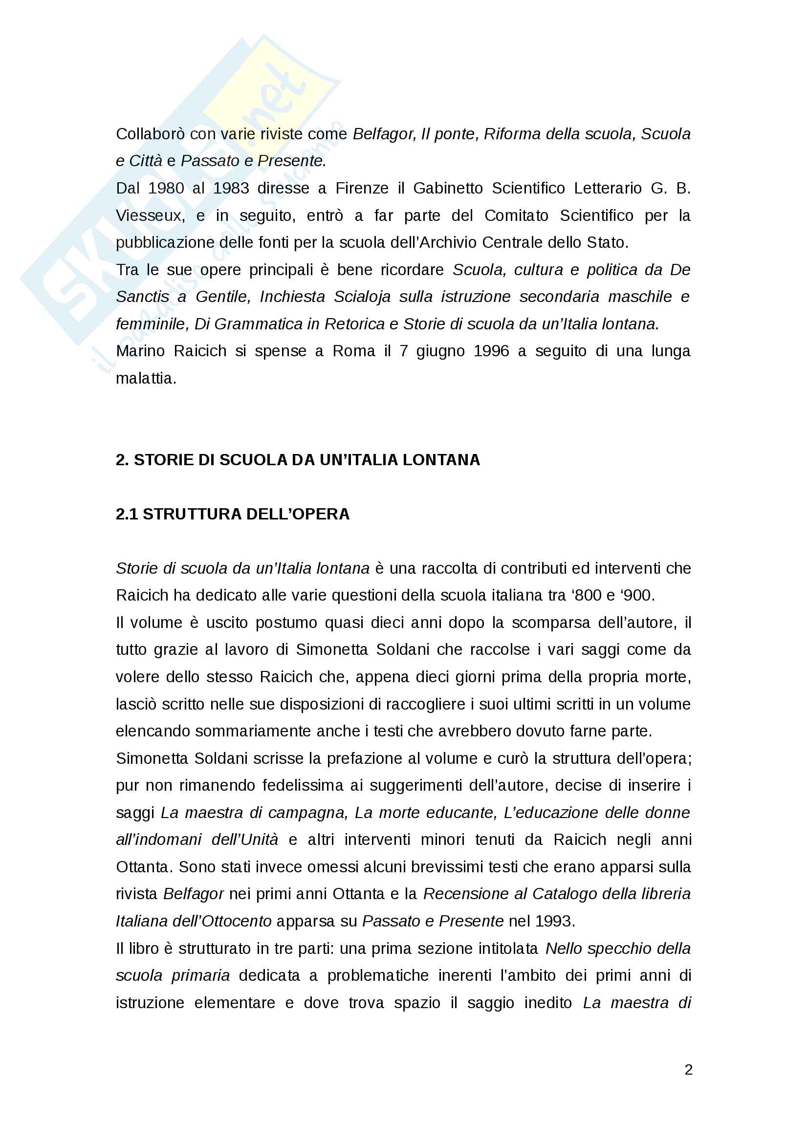 Marino Raicich, Storie di scuola da un'Italia lontana. Analisi personale del testo. Pag. 2