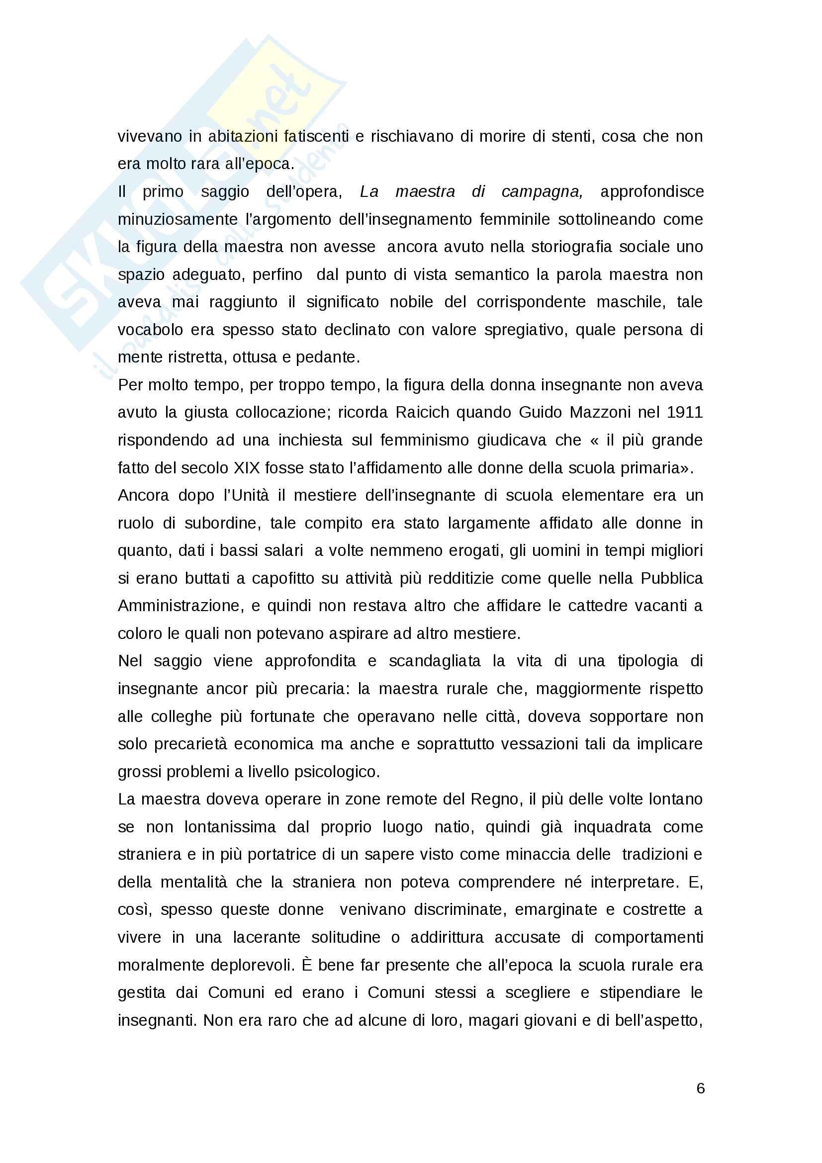 Marino Raicich, Storie di scuola da un'Italia lontana. Analisi personale del testo. Pag. 6