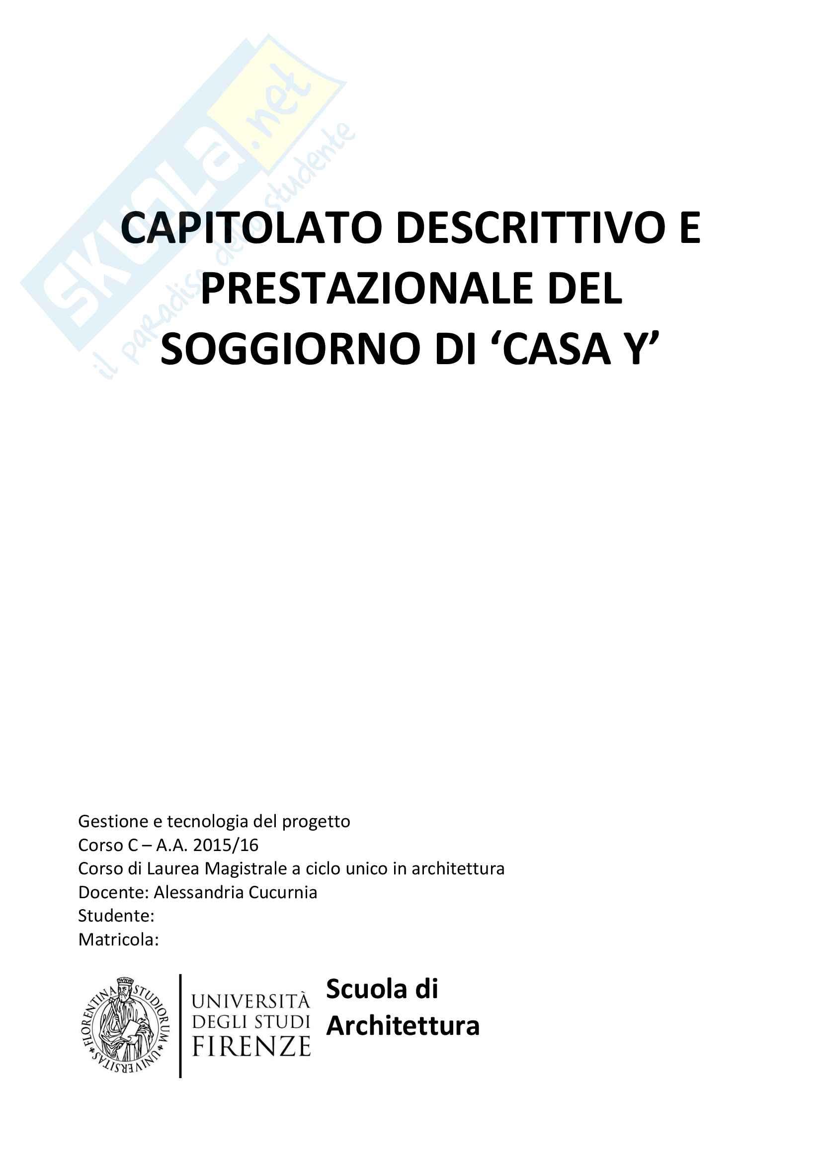 Capitolato Descrittivo e prestazionale gestione e tecnologia del progetto