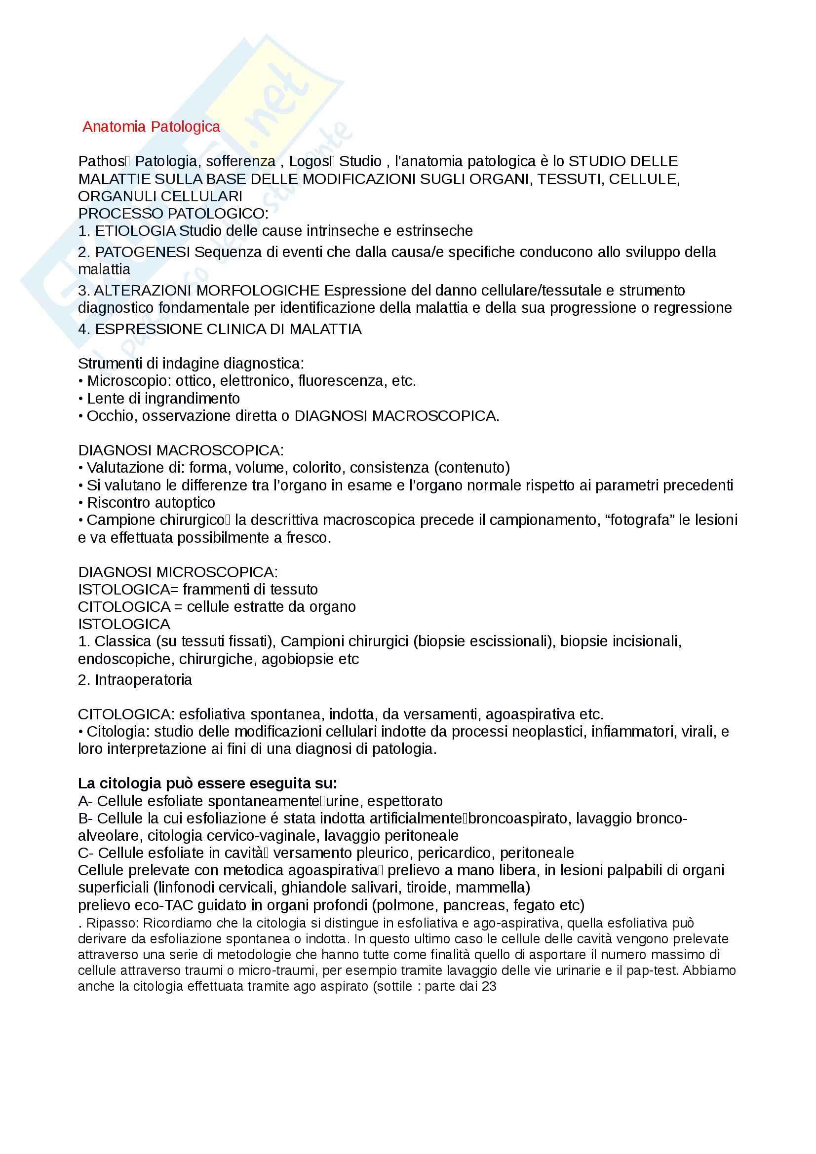Anatomia patologica - Appunti