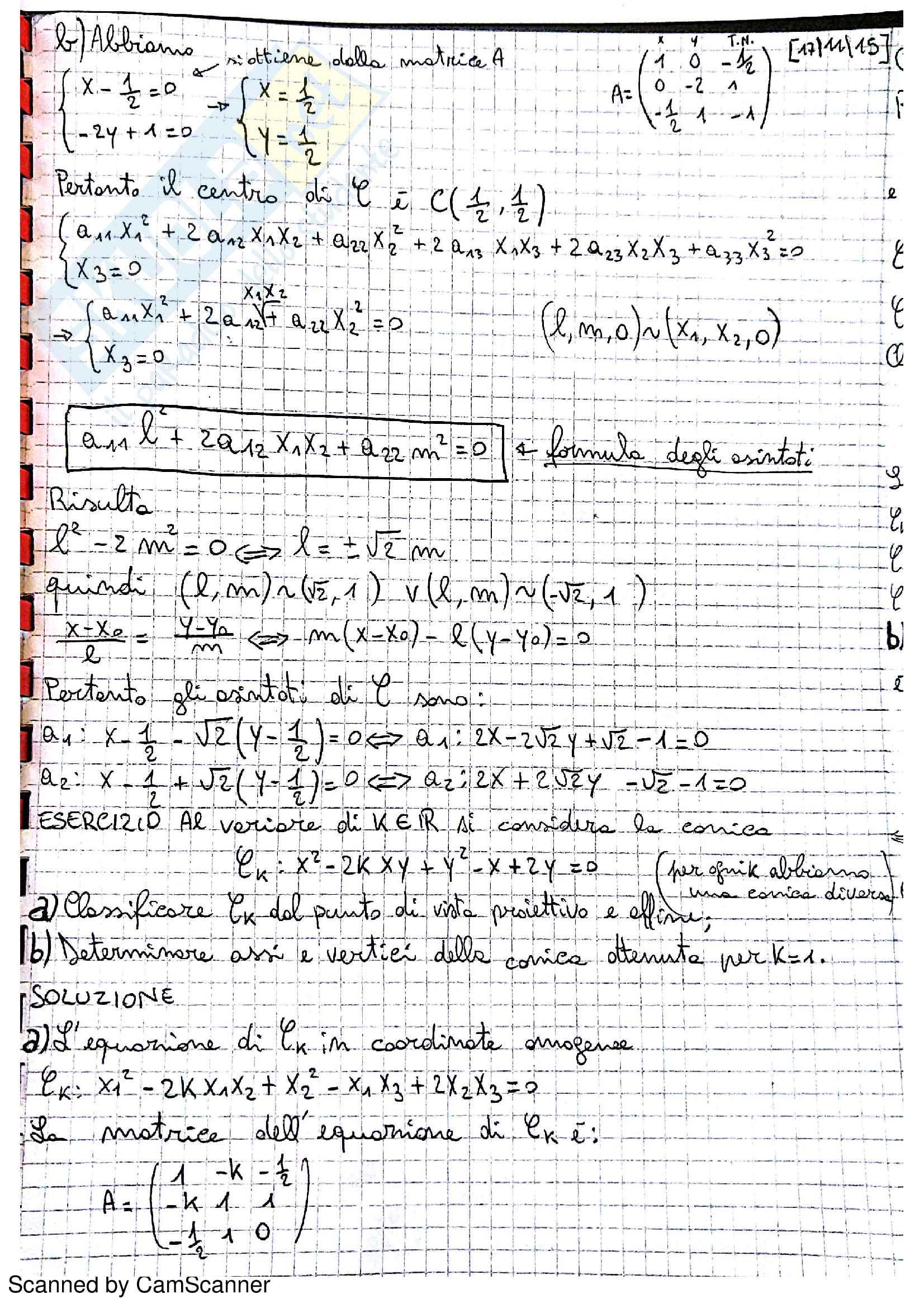 Geometria e Algebra Lineare - Esercizi Curve e Coniche Pag. 6
